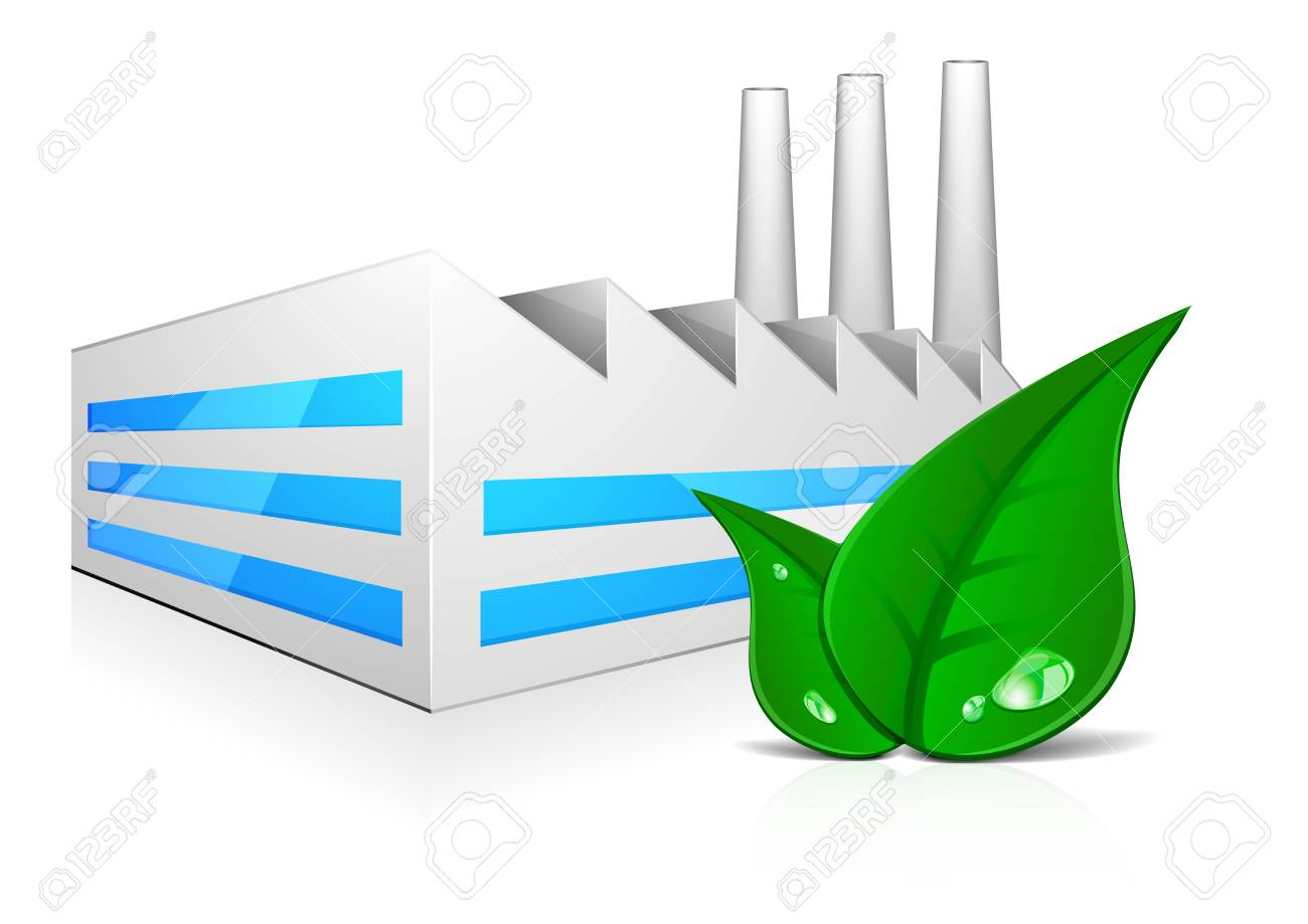 detailed illustration of modern factory building with three chimneys and green leafs in front Stock Illustration - 20619706