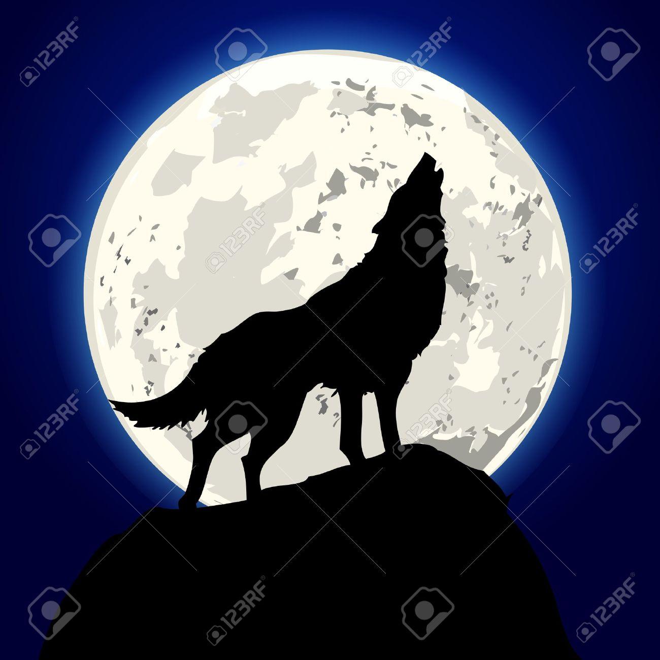 Ilustración Detallada De Un Lobo Aullando Frente A La Luna Fotos