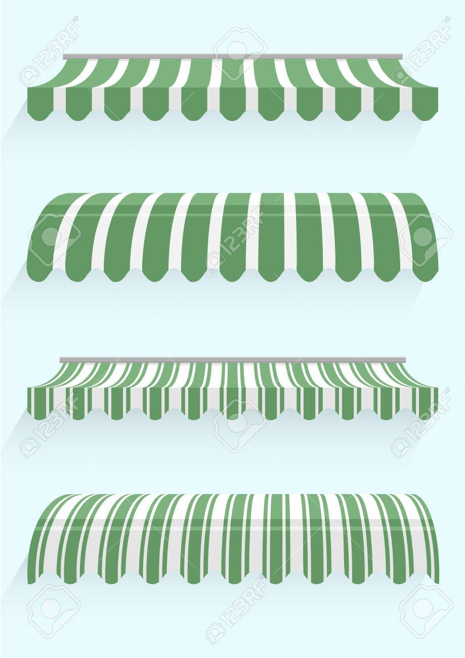 detailed illustration of set of striped awnings - 21590622
