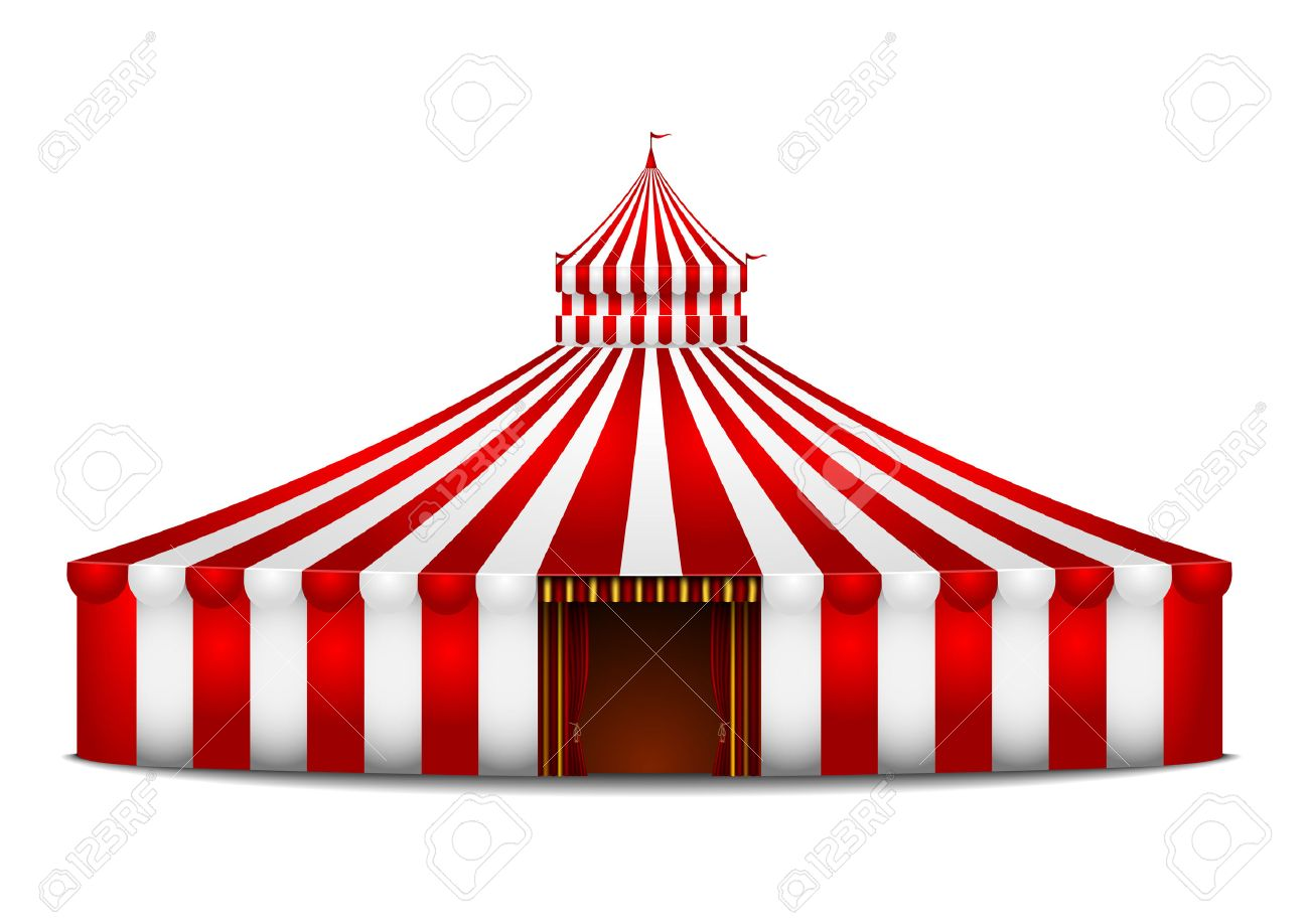 detailed illustration of a red and white circus tent - 22952161