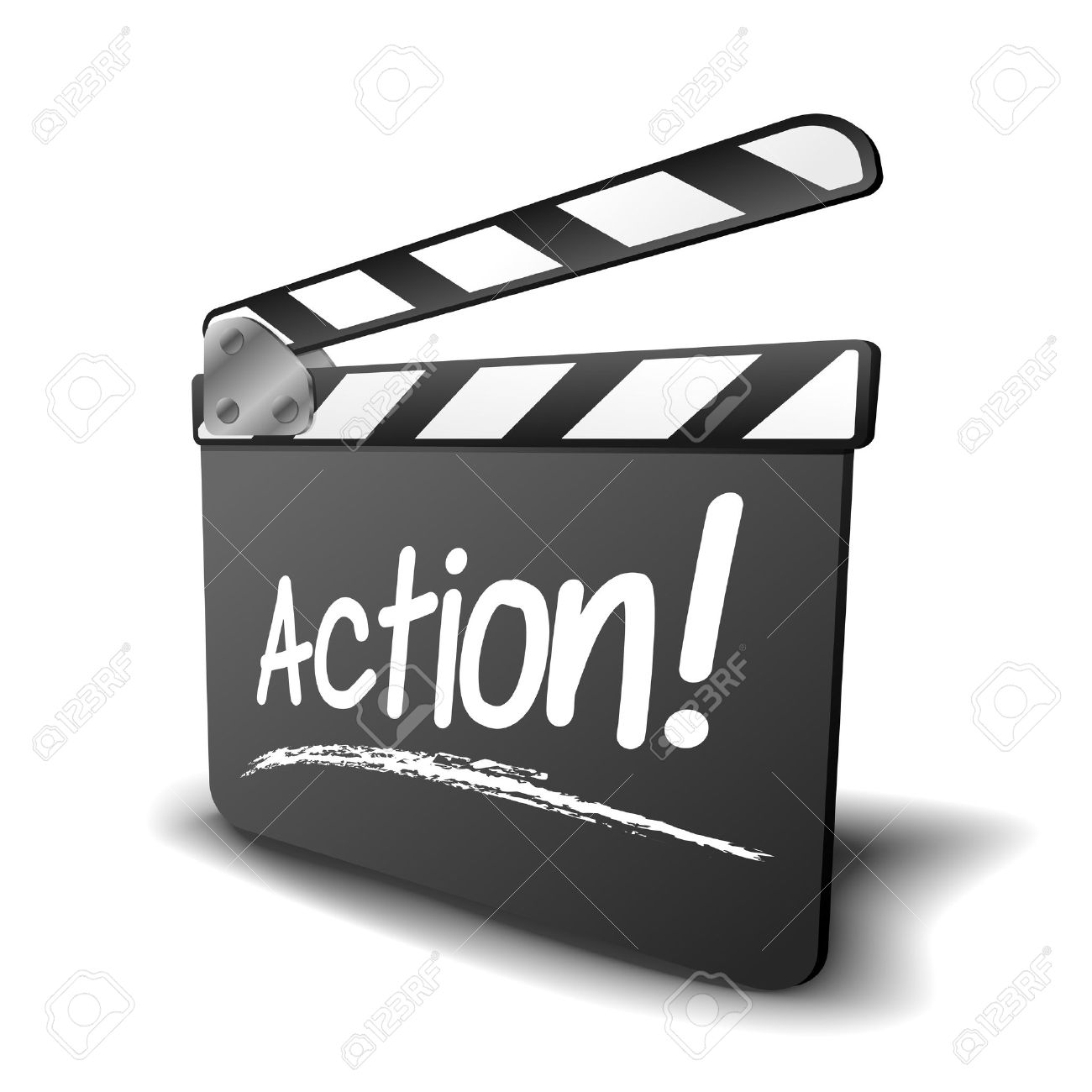 detailed illustration of a clapper board with action term, symbol for film and video - 22952163
