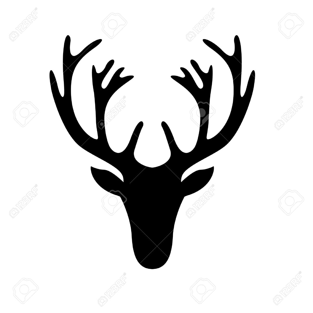 illustration of a deer head silhouette isolated on white royalty rh 123rf com Large Printable Deer Heads Silhouettes Large Printable Deer Heads Silhouettes