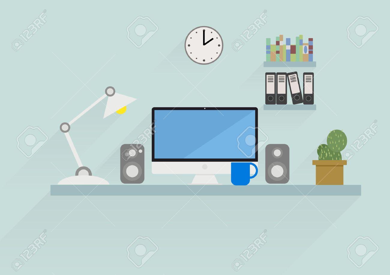 Banque d images - Détaillée rétro illustration de style plat d un bureau d espace  de travail avec des éléments de l interface et des objets a3d9b1d7b02c