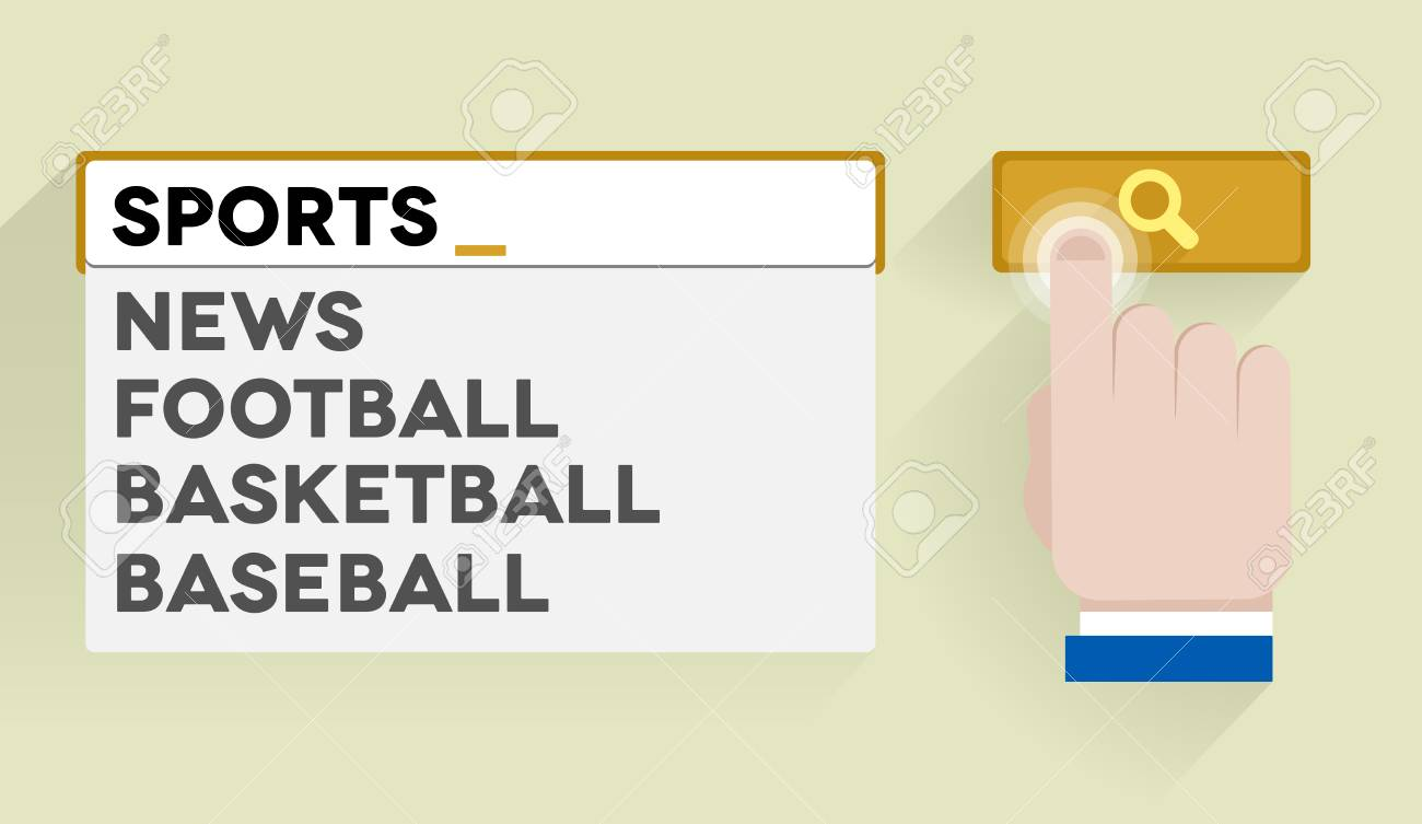 minimalistic illustration of a search bar with sports keyword and associations Stock Vector - 25118976