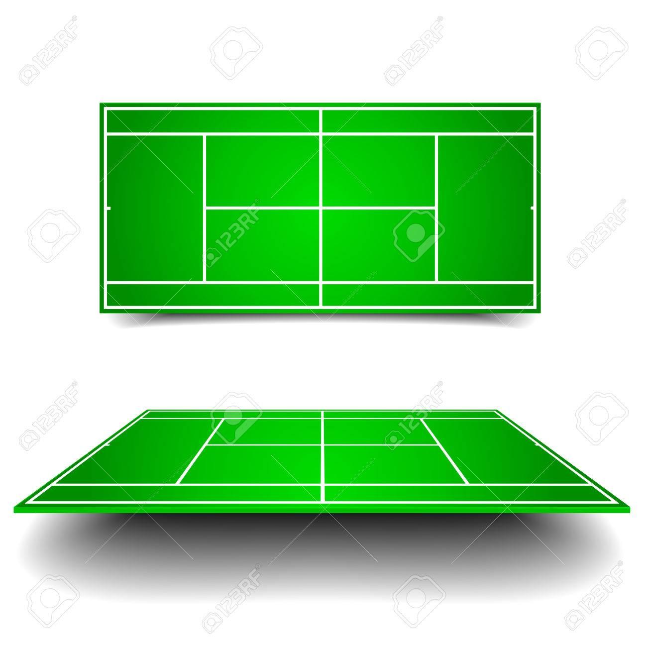 異なる視点を持つテニスコートの詳細なイラストのイラスト素材ベクタ