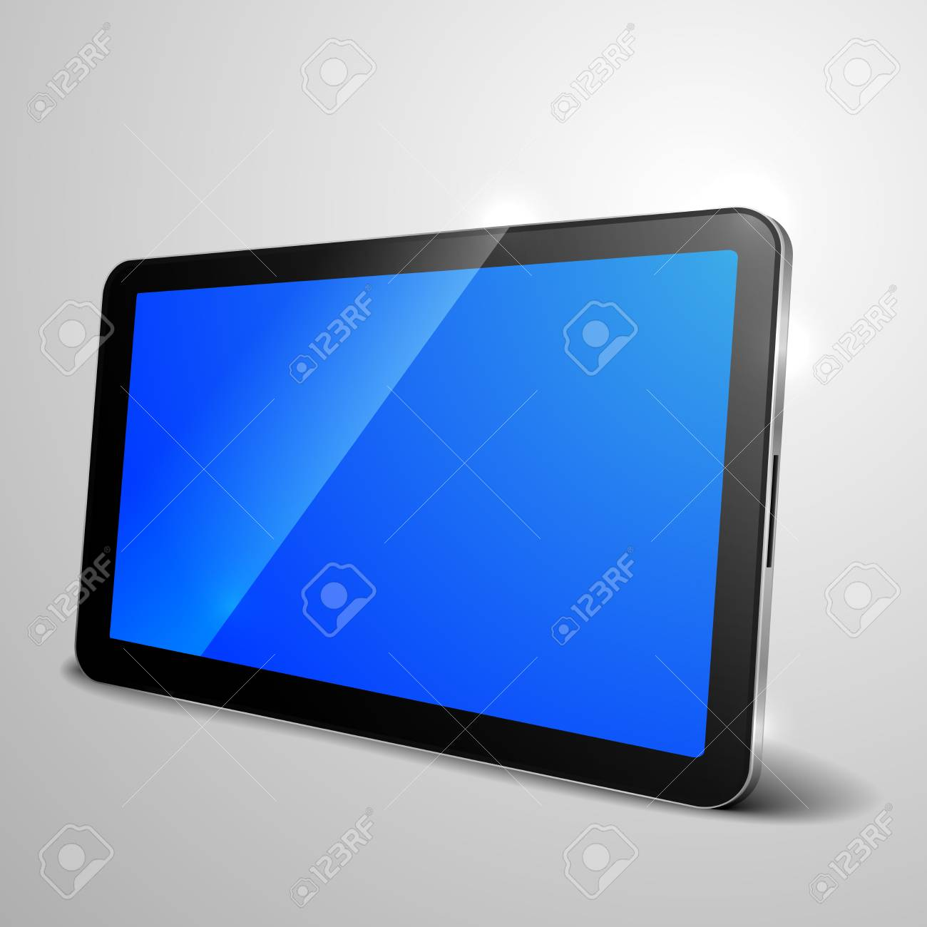 detailed illustration of a tablet computer device with blue empty screen Stock Vector - 25630328