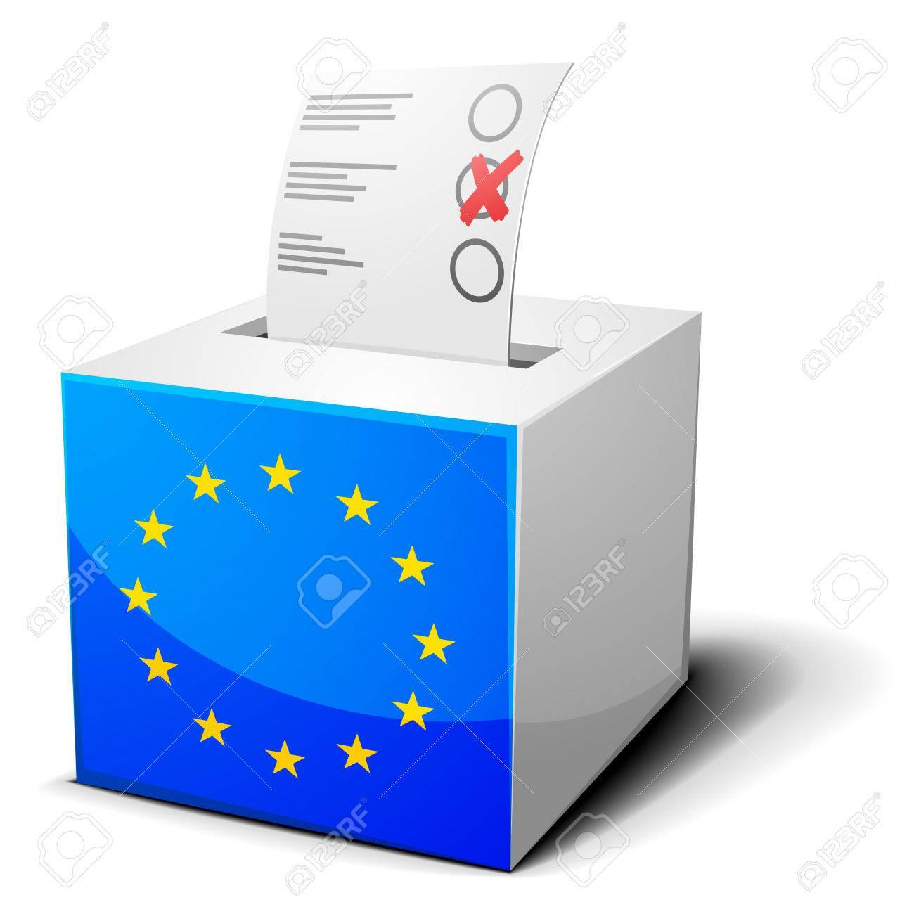 eps10 ベクトルにヨーロッパの旗の投票箱の詳細なイラスト