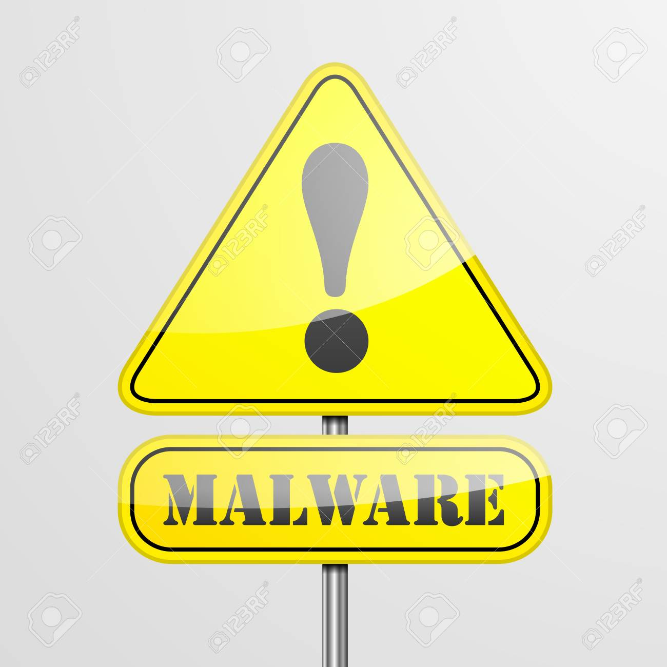 detailed illustration of a malware warning roadsign, eps10 vector Stock Vector - 27331911