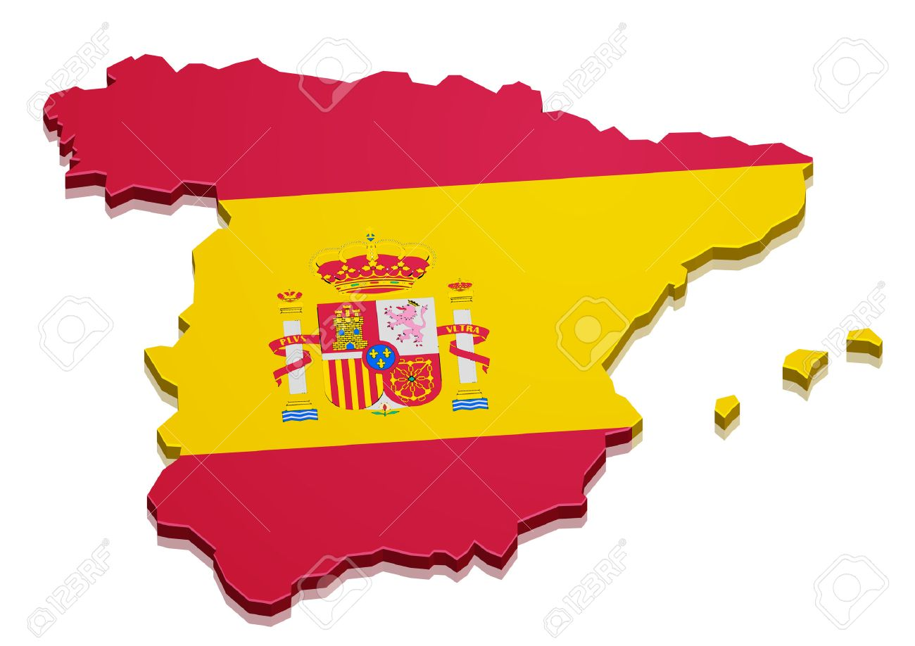 3d Map Of Spain.Detailed Illustration Of A 3d Map Of Spain With Flag Eps10 Vector