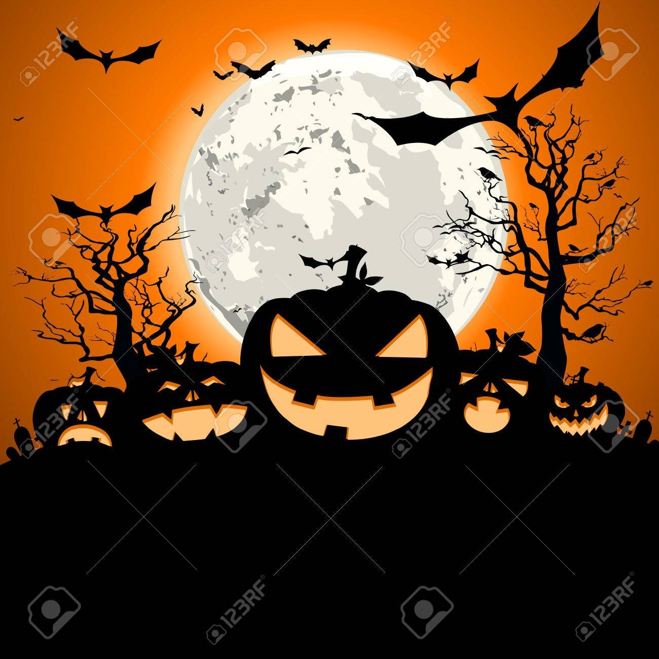 Detailed Illustration Of A Happy Halloween Invitation Background Eps10 Vector Stock