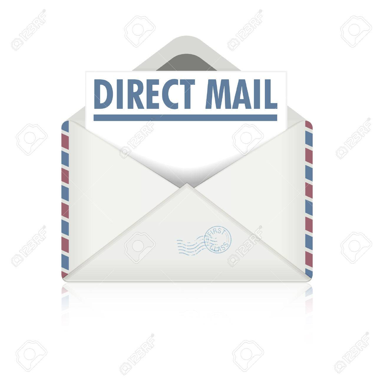 Detailed Illustration Of An Open Envelope With Direct Mail Letter