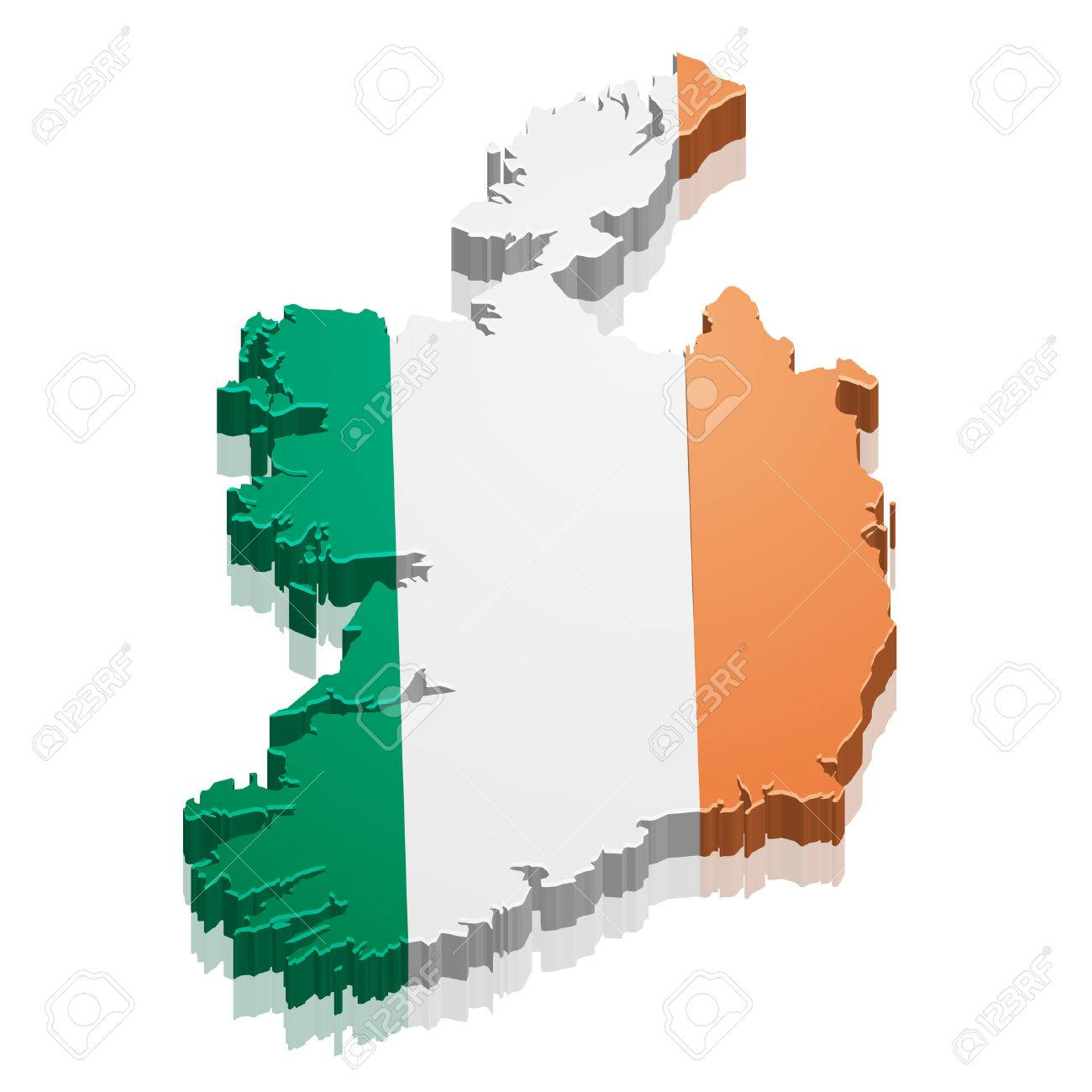 detailed illustration of a map of ireland with flag royalty free