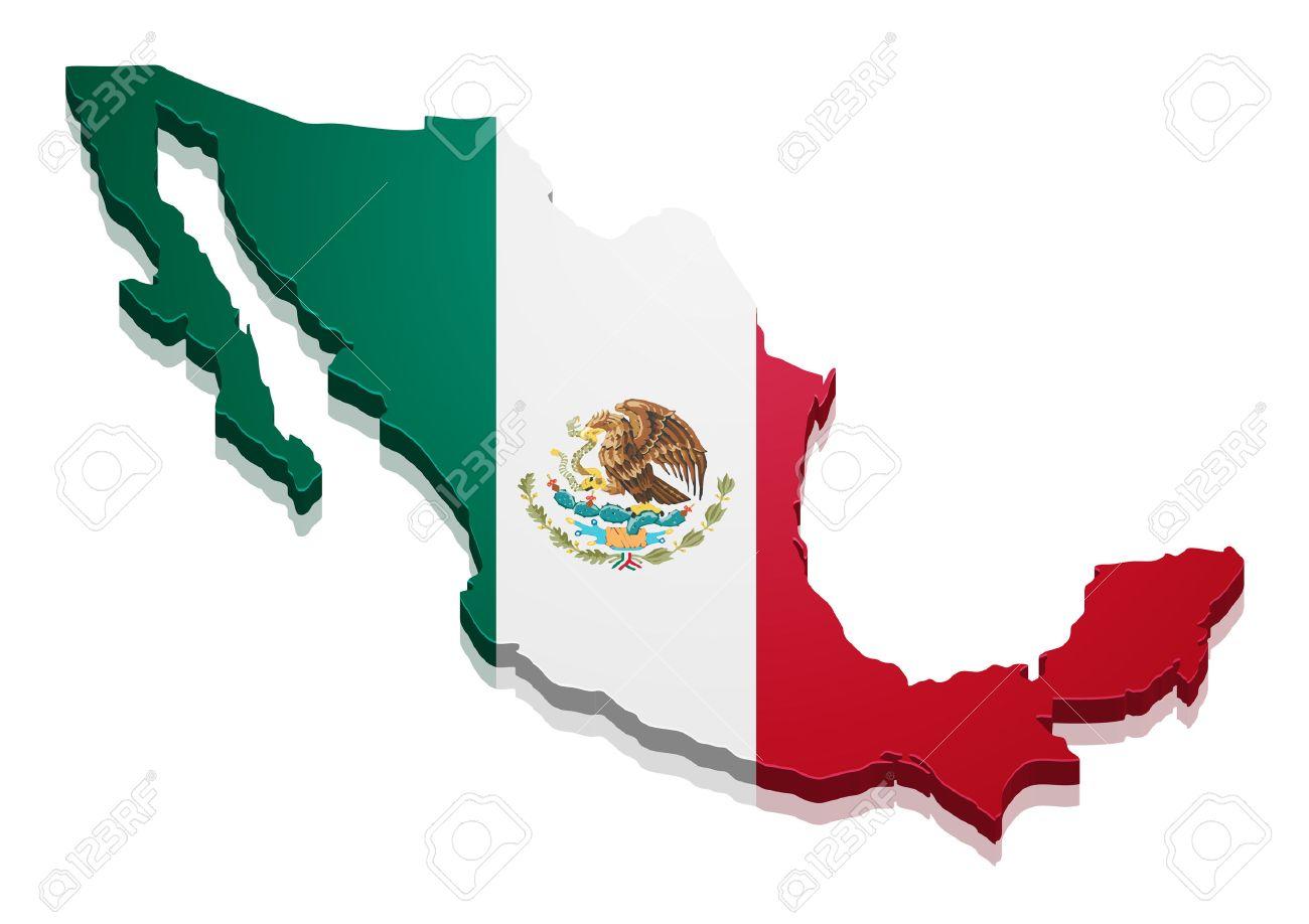 Ilustración Detallada De Un Mapa De México Con La Bandera Vector