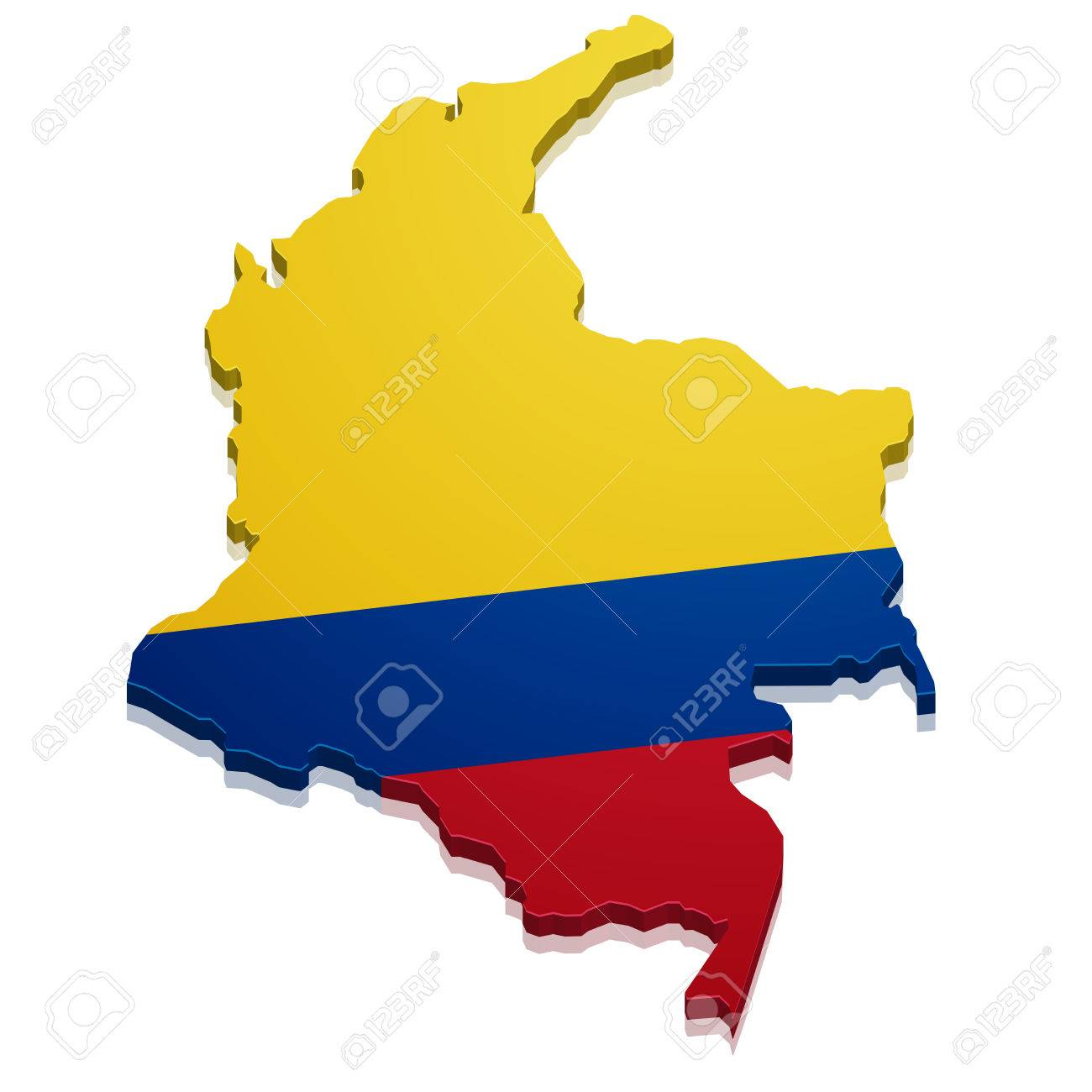 detailed illustration of a map of Colombia with flag, eps10 vector - 35233733