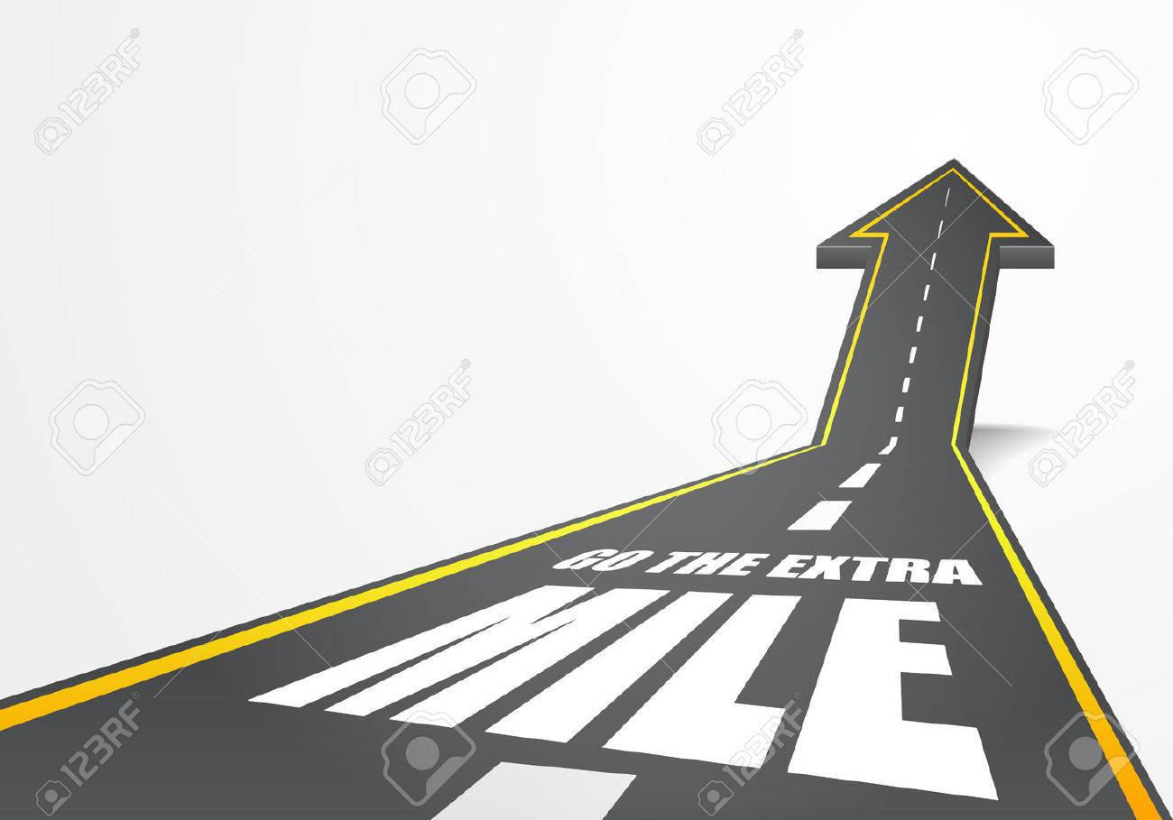 detailed illustration of a highway road going up as an arrow with go the extra mile text, eps10 vector - 35233742