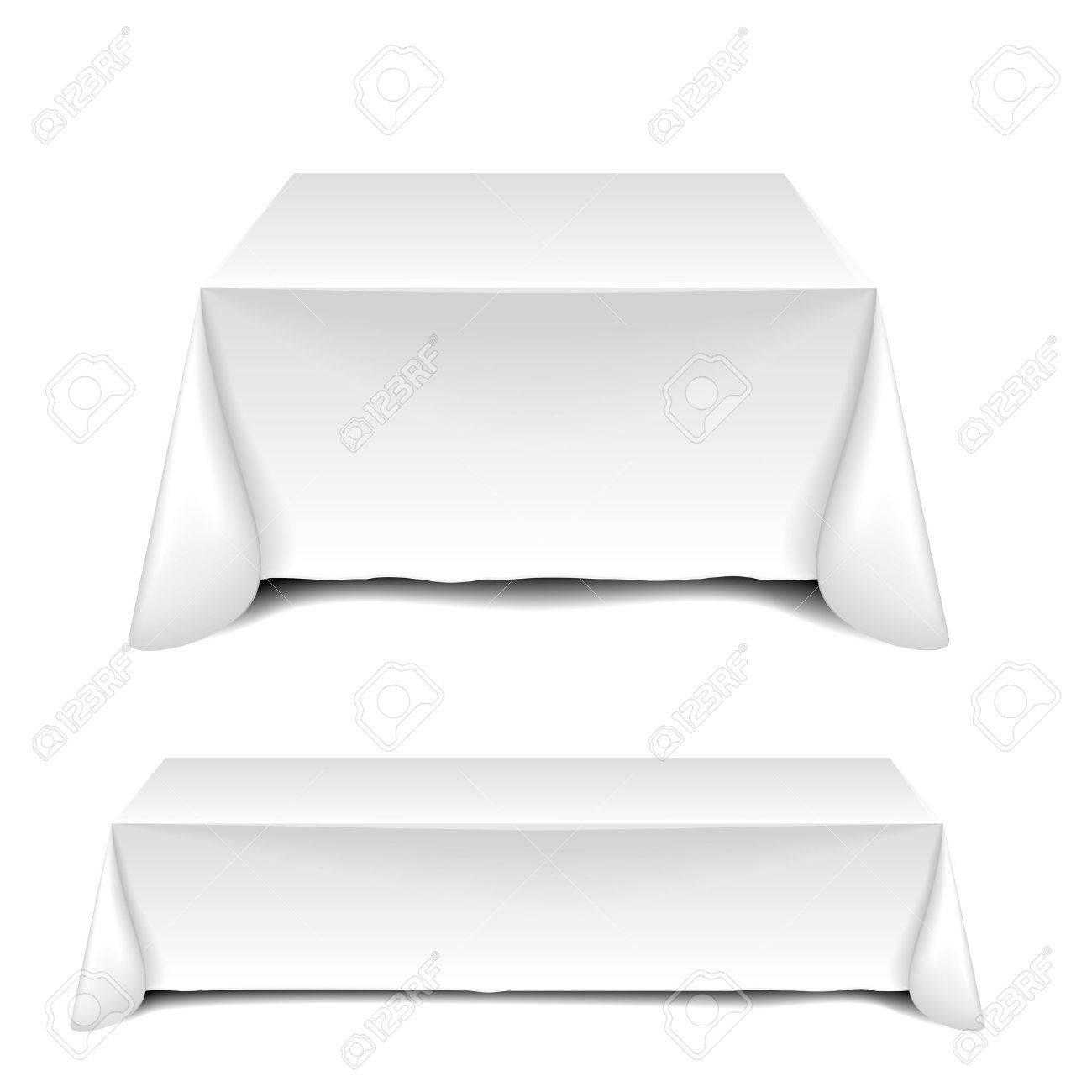 detailed illustration of blank white tables - 36888559