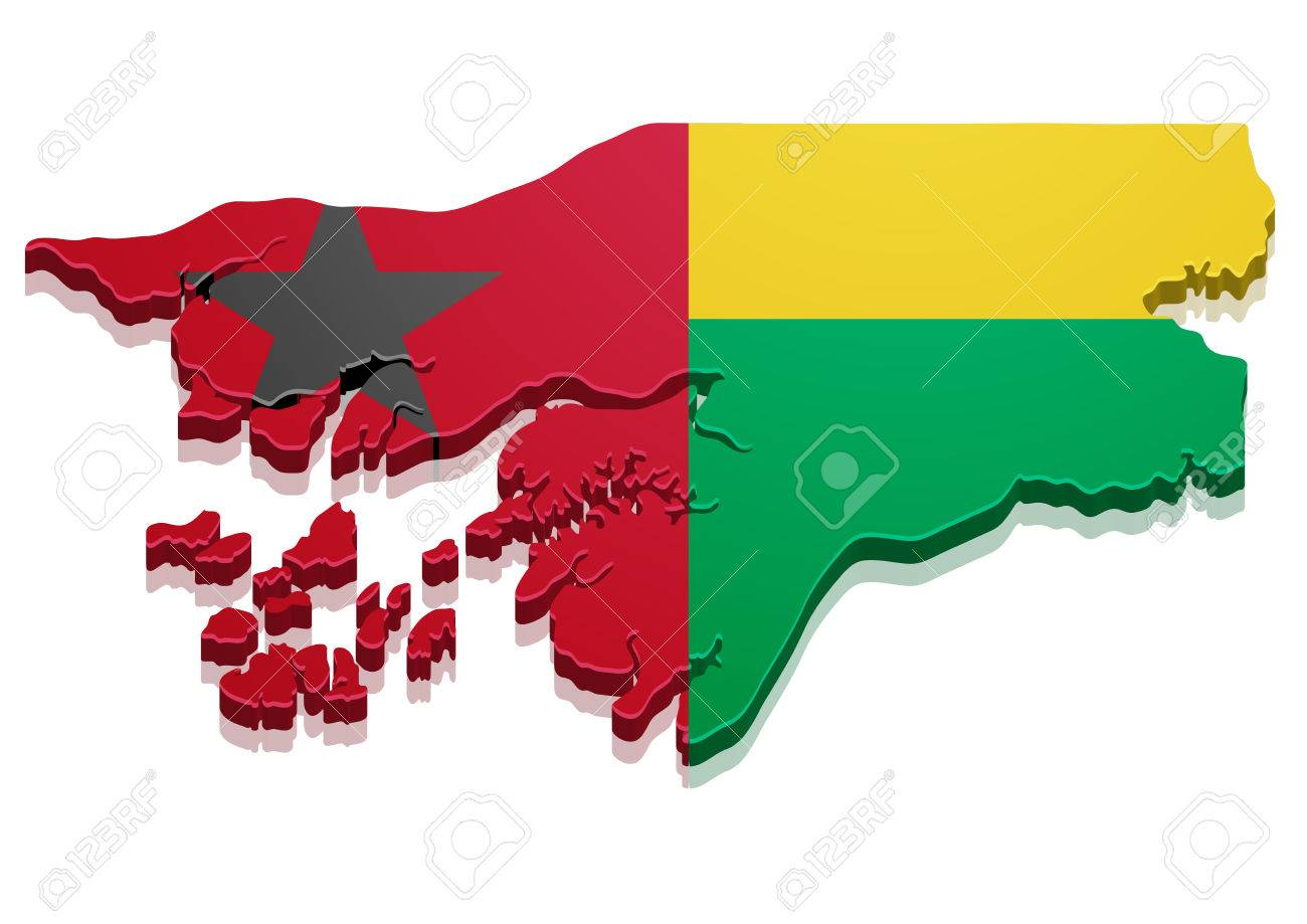 detailed illustration of a map of Guinea-Bissau with flag, eps10 vector - 37602626