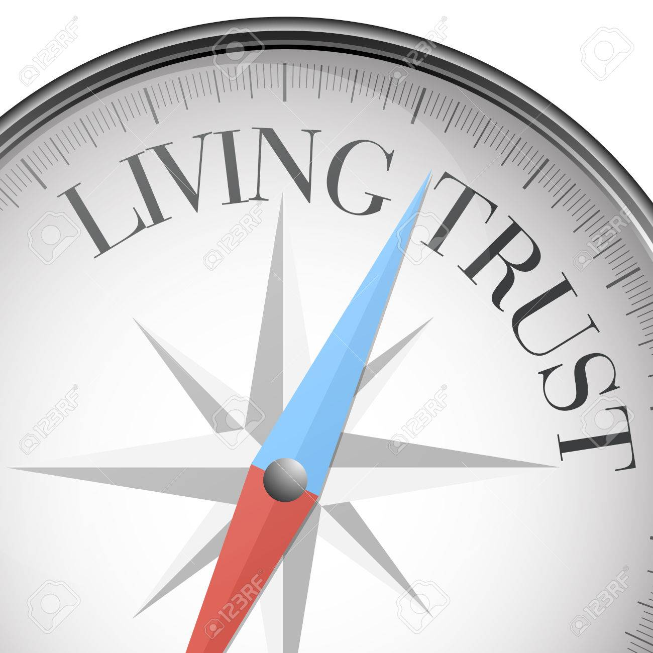 detailed illustration of a compass with living trust text - 38197389