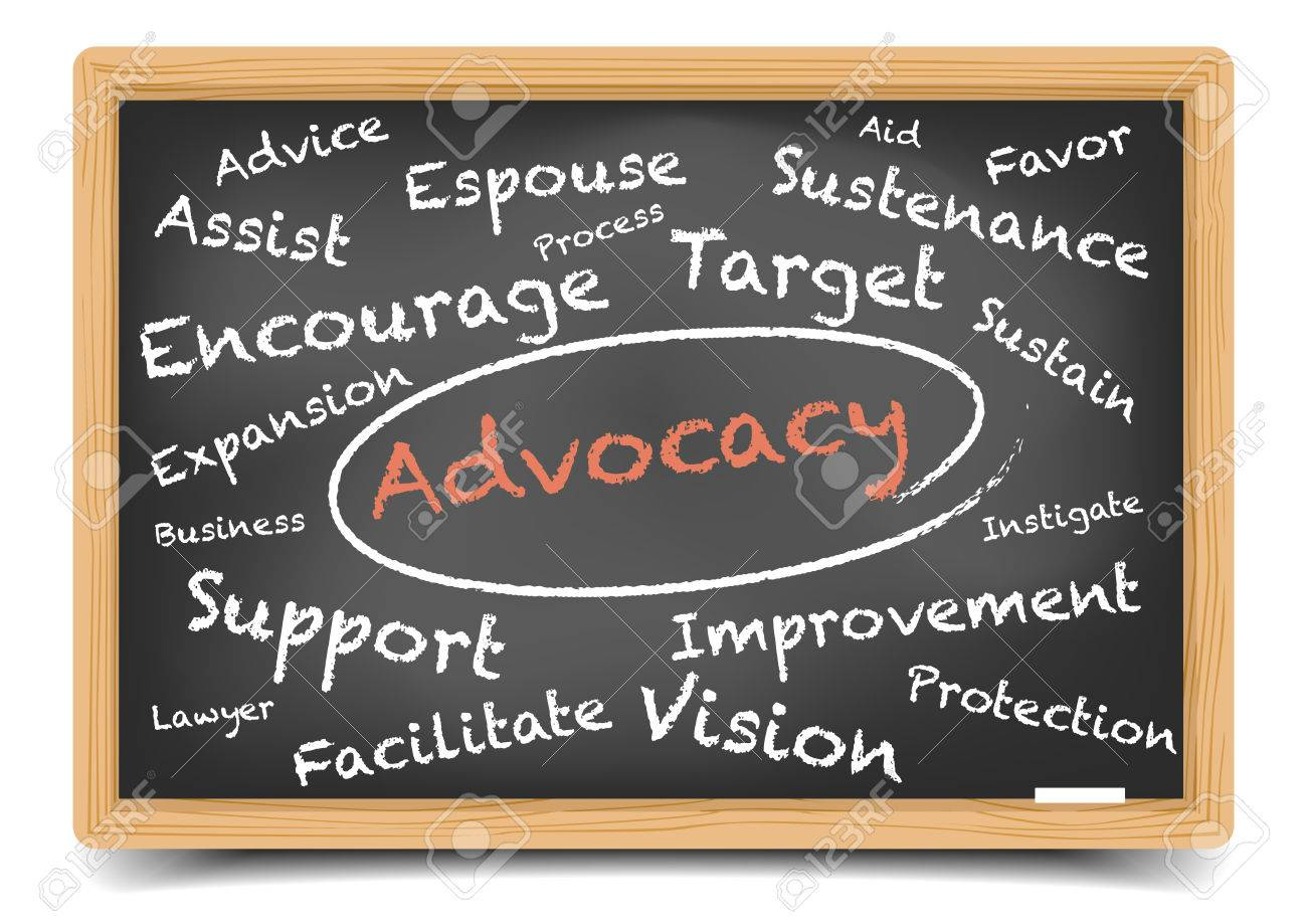 detailed illustration of a Advocacy wordcloud on a blackboard, vector, gradient mesh included - 40339936
