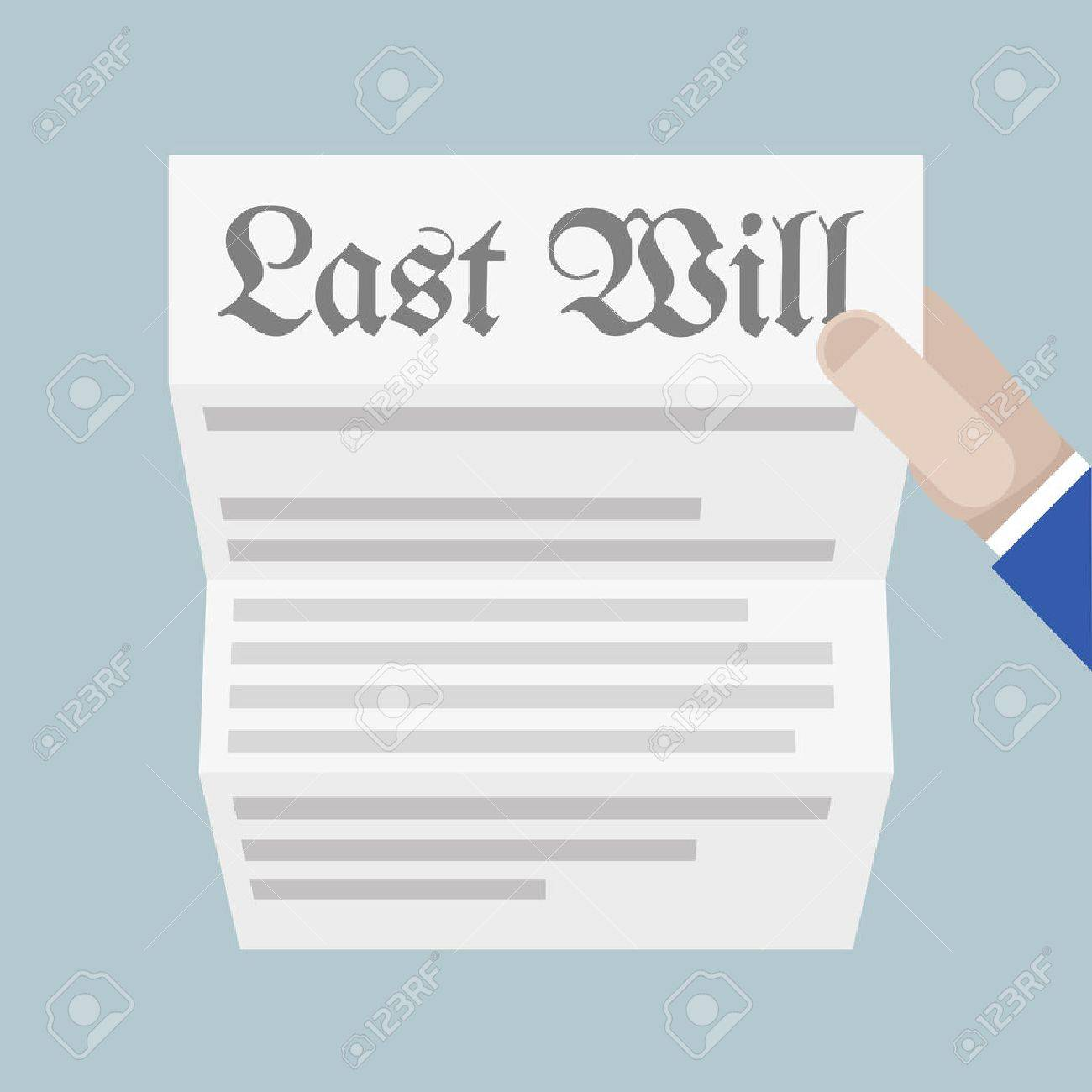 minimalistic illustration of a hand holding a sheet of paper with Last Will headline, eps10 vector - 41533017