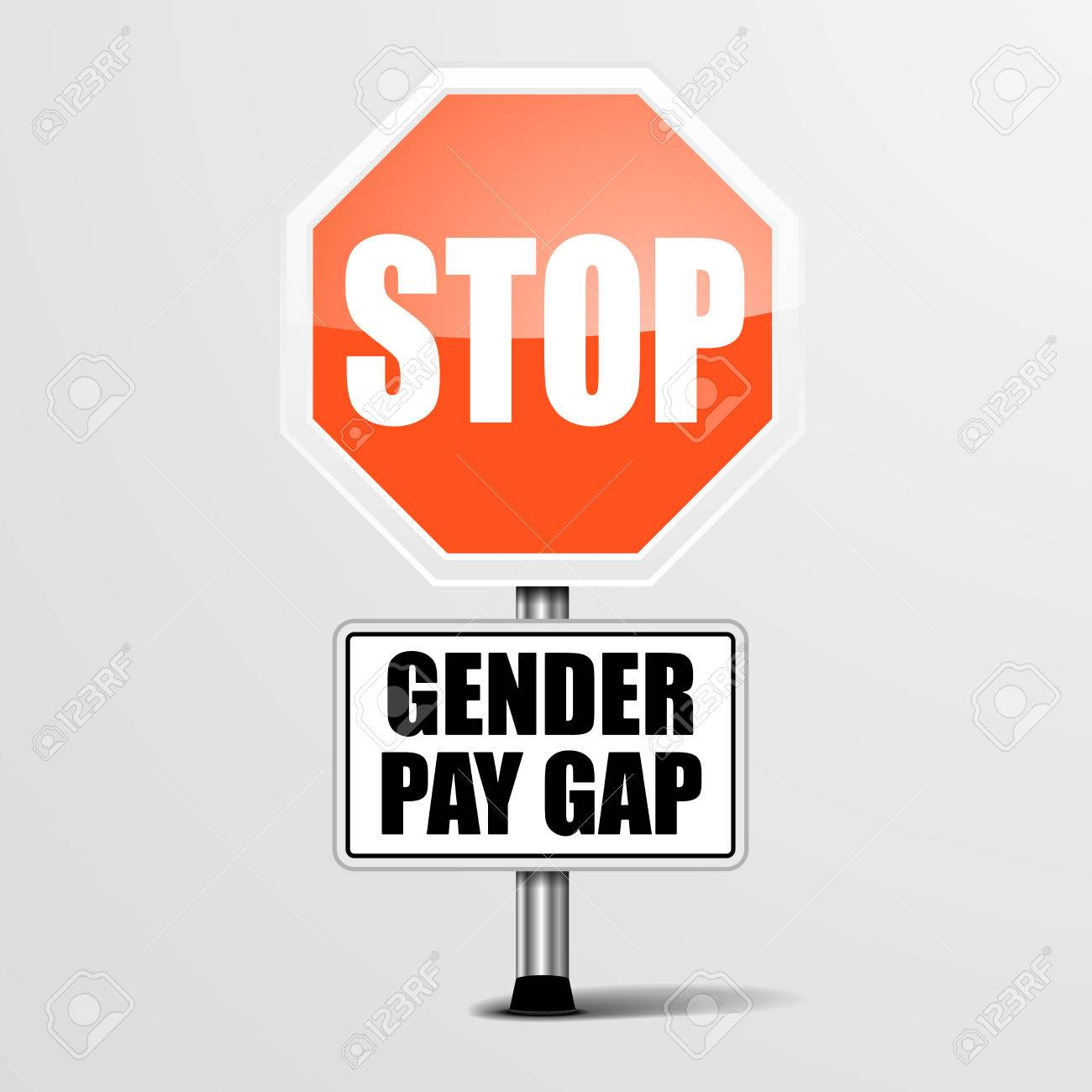 detailed illustration of a red stop Gender Pay Gap sign, vector - 42286870