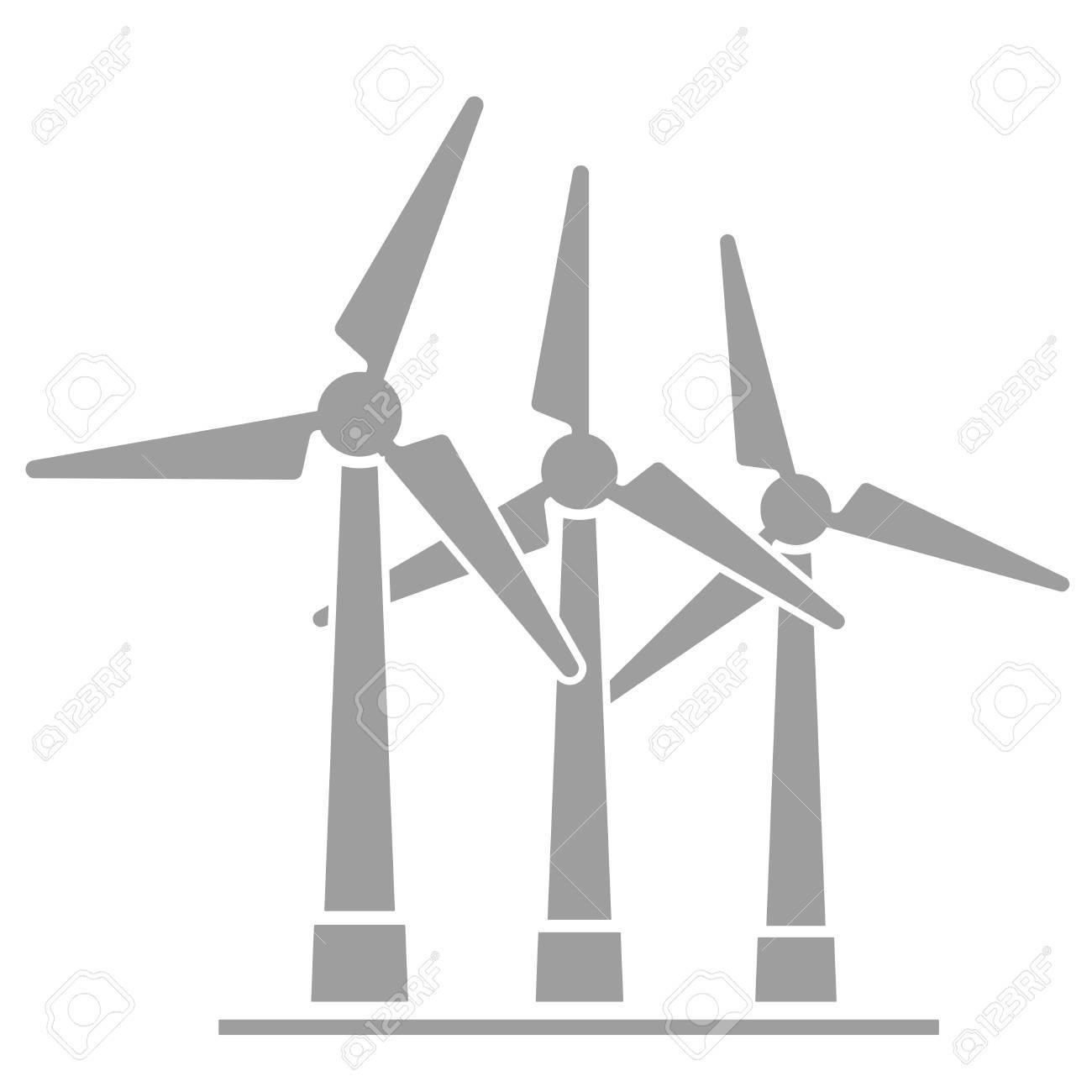 ミニマルなイラスト ベクトルの風力発電機のイラスト素材ベクタ