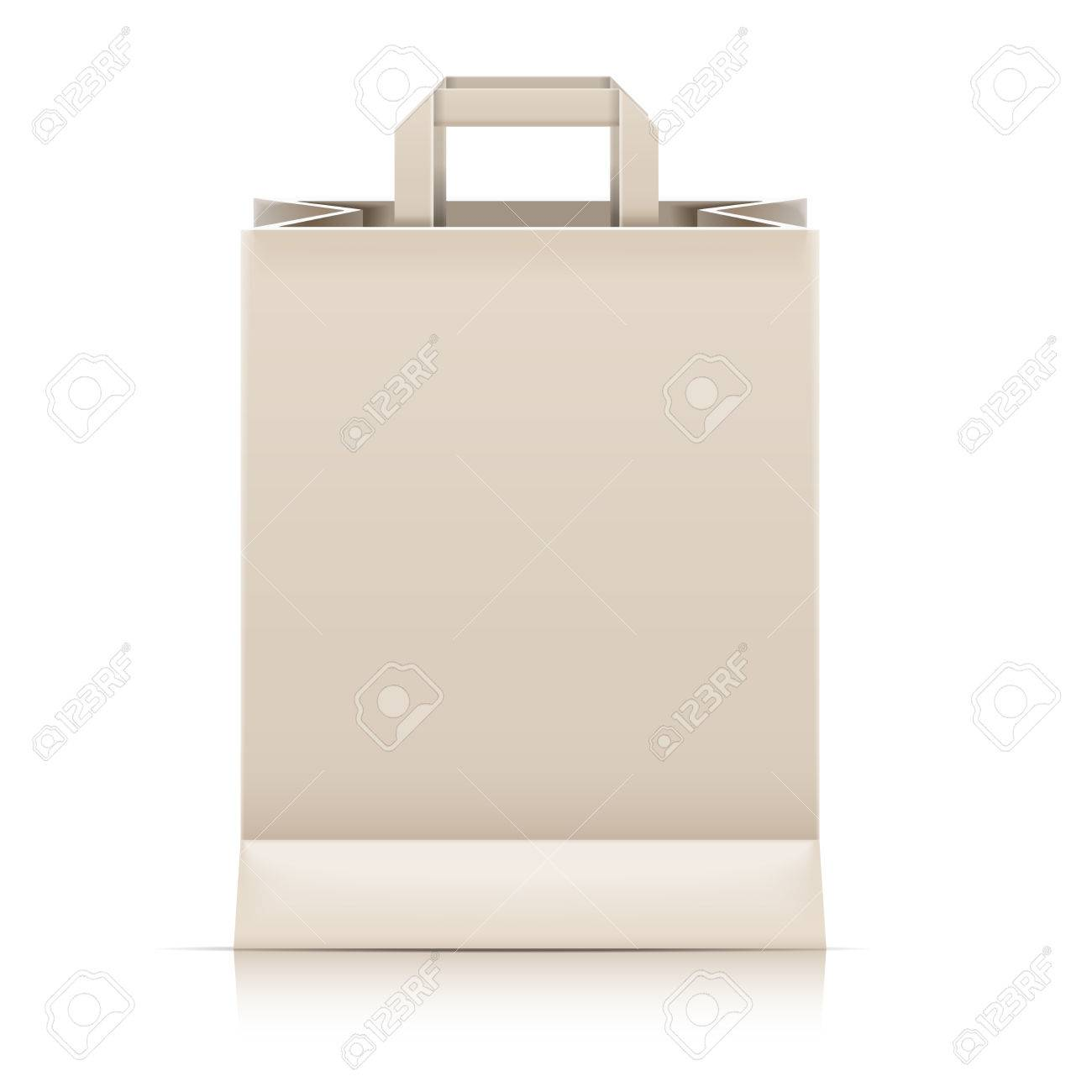 detailed illustration of a blank paperbag template vector royalty