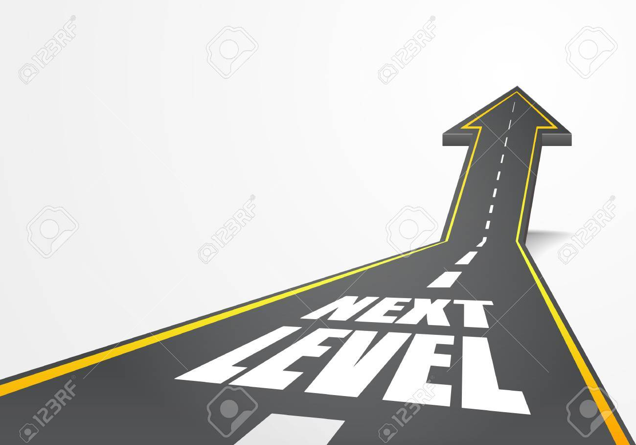 detailed illustration of a highway road going up as an arrow with Next Level text - 52547006
