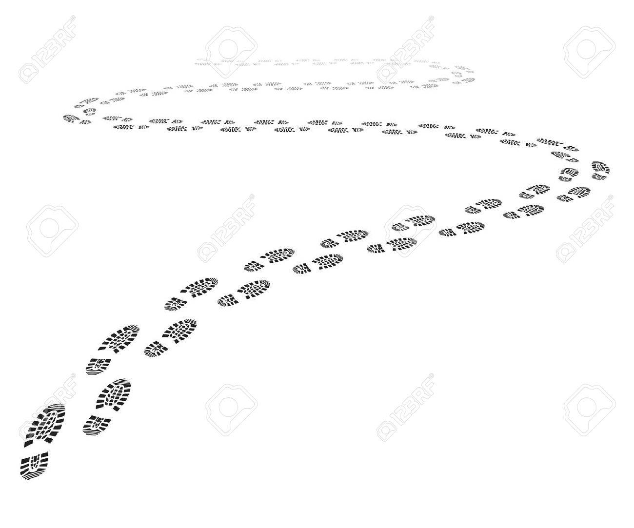 detailed illustration of a shoe print trail - 52547073