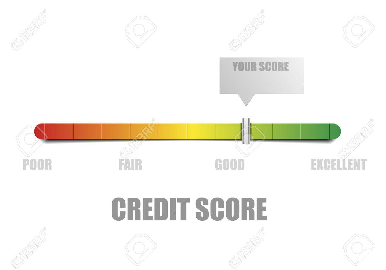 detailed illustration of a credit score meter with pointer - 57807442
