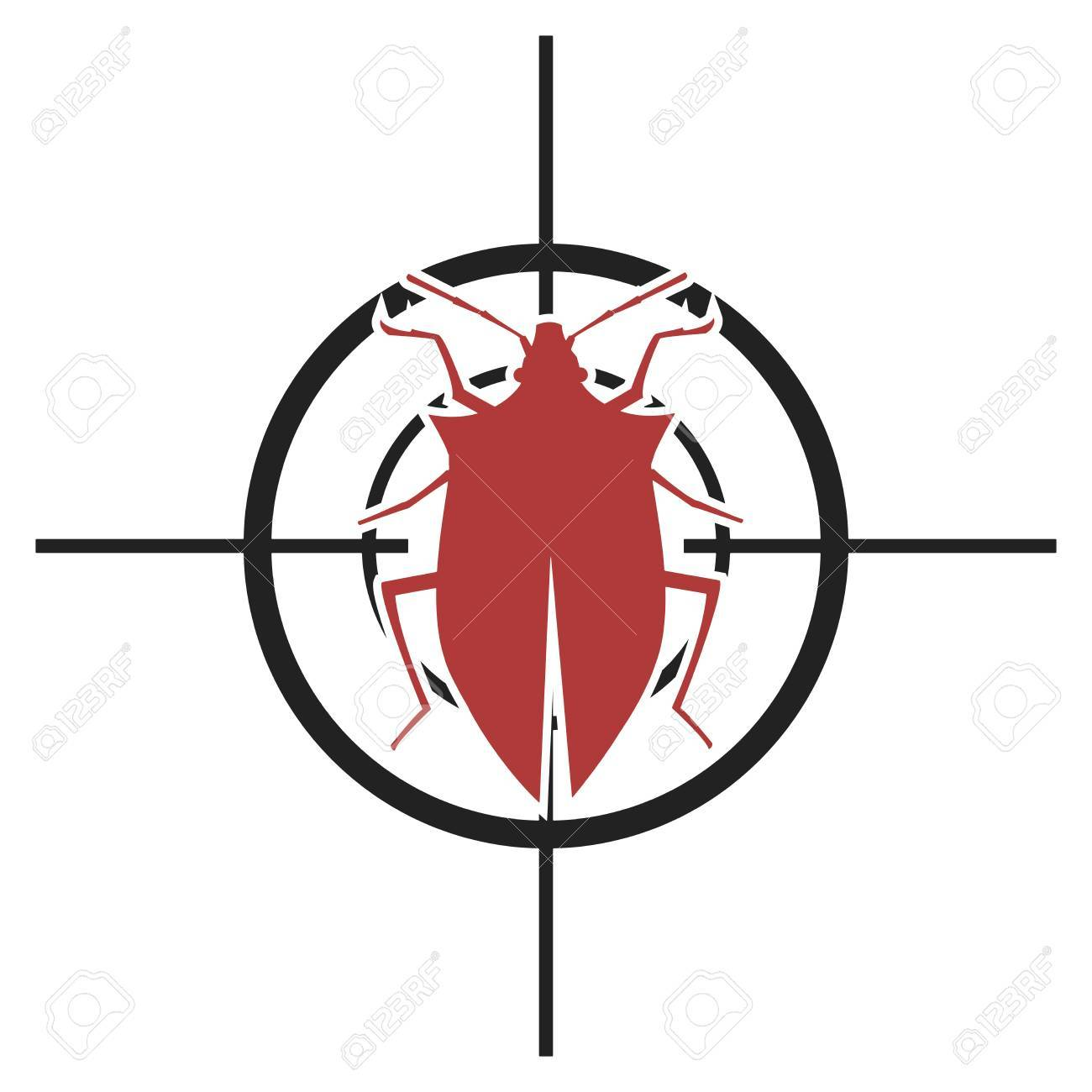 Illustration Of A Scope With A Bug Symbol For Pest Control Royalty