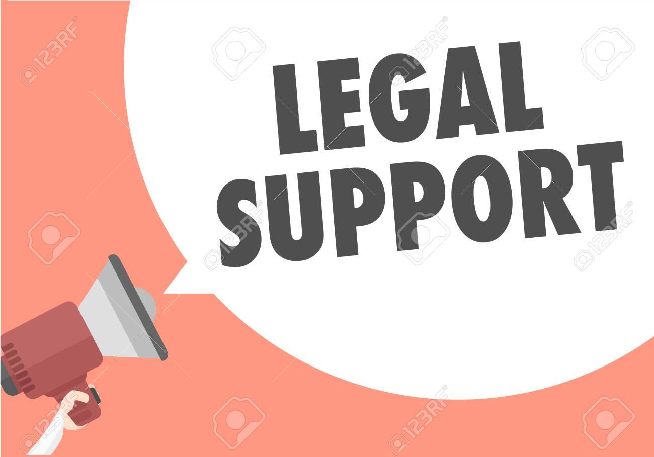 Illustration Minimaliste Dun Mégaphone Avec Texte De Soutien Juridique Dans Une Bulle De Dialogue Vecteur