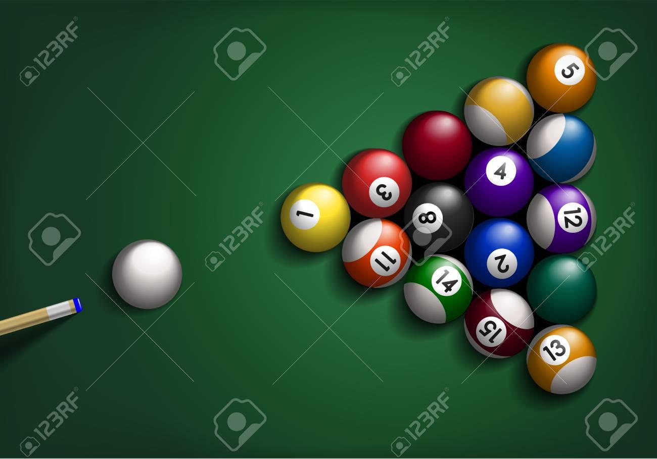 Illustration détaillée des boules de billard sur fond vert. Banque d'images - 81791867