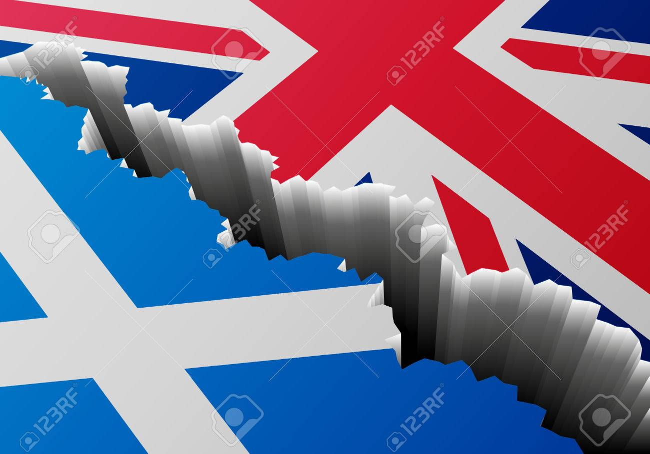 detailed illustration of the scottish flag and the union jack