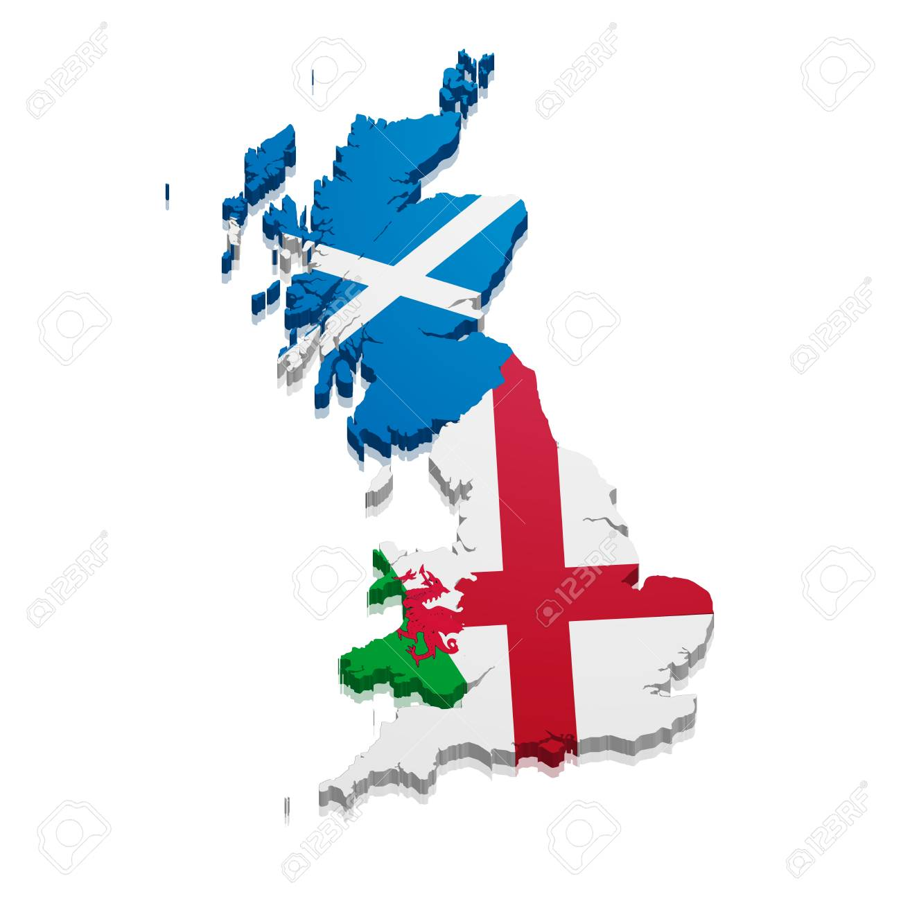 Map Of England Wales Scotland.Detailed Illustration Of A Map Of England Scotland And Wales