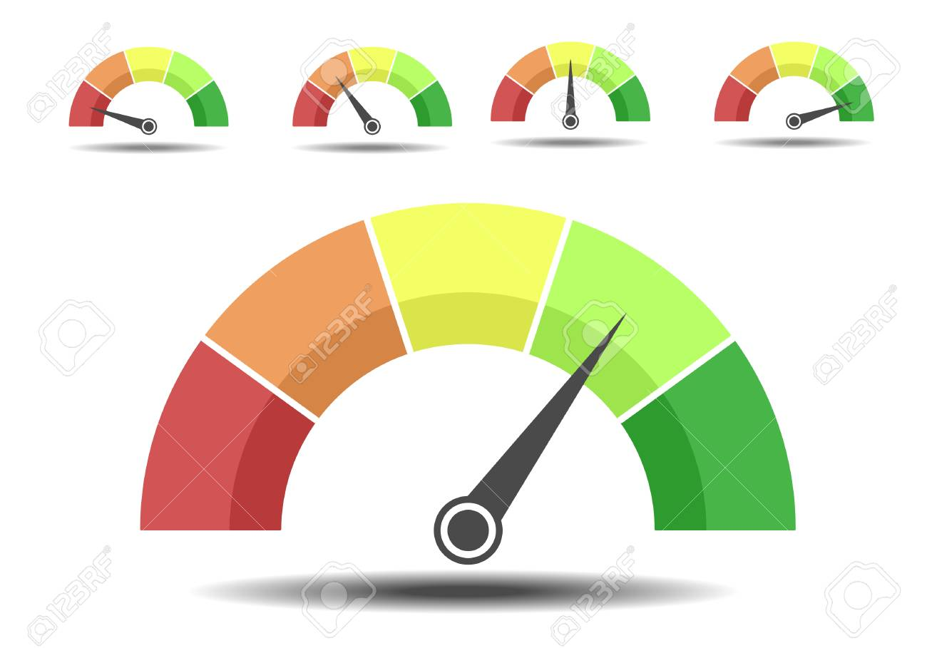 Minimalist illustration of different rating meters, customer satisfaction concept - 100849334