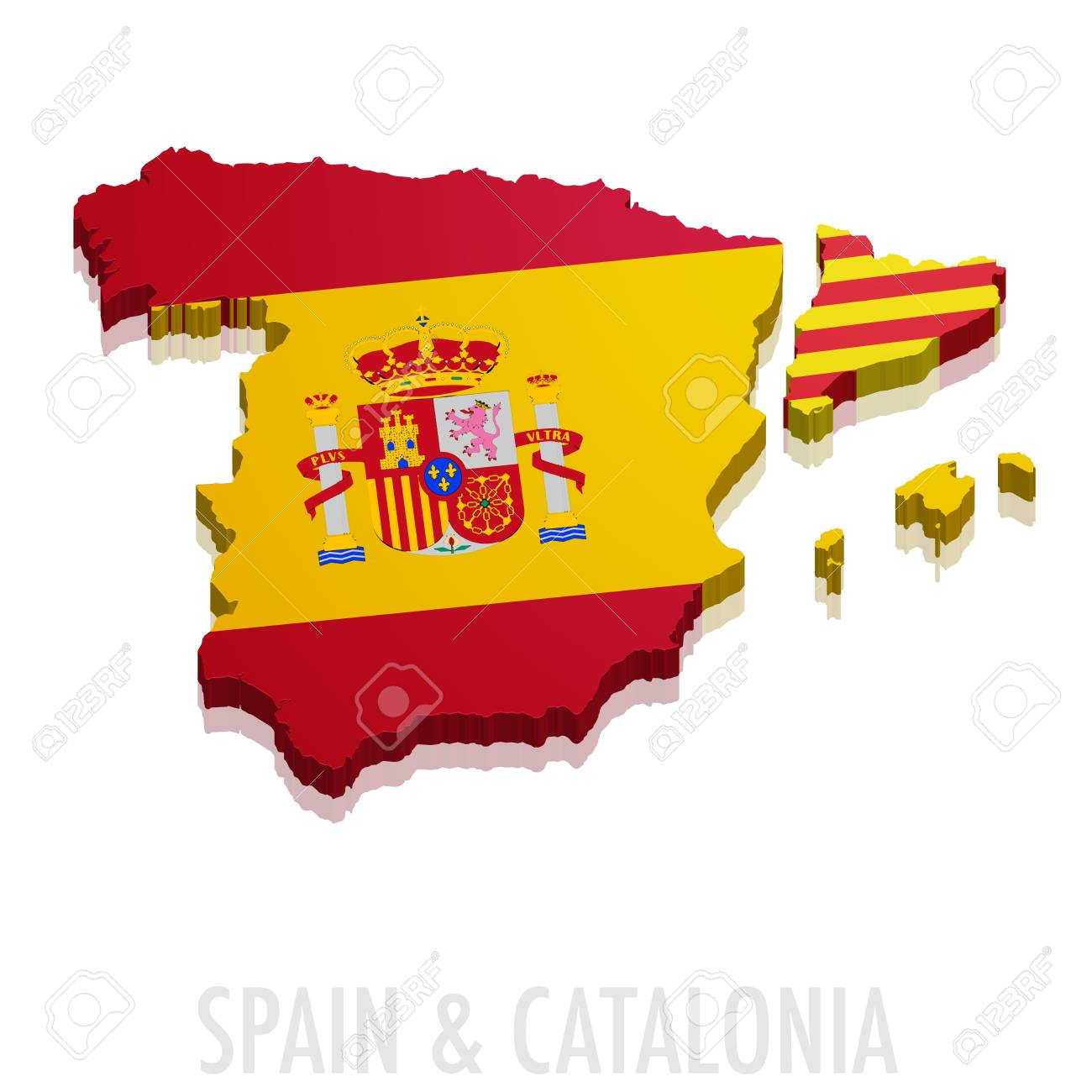 Map Of Spain And Catalonia.Detailed Illustration Of A Map Of Spain And Catalonia With Flag