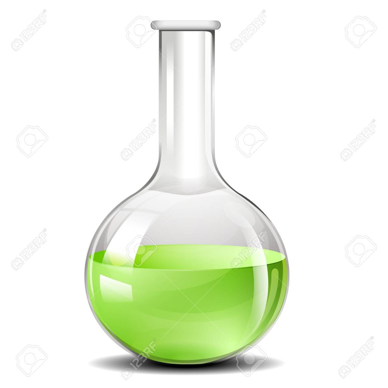 detailed illustration of a testing flask used for chemistry experiments