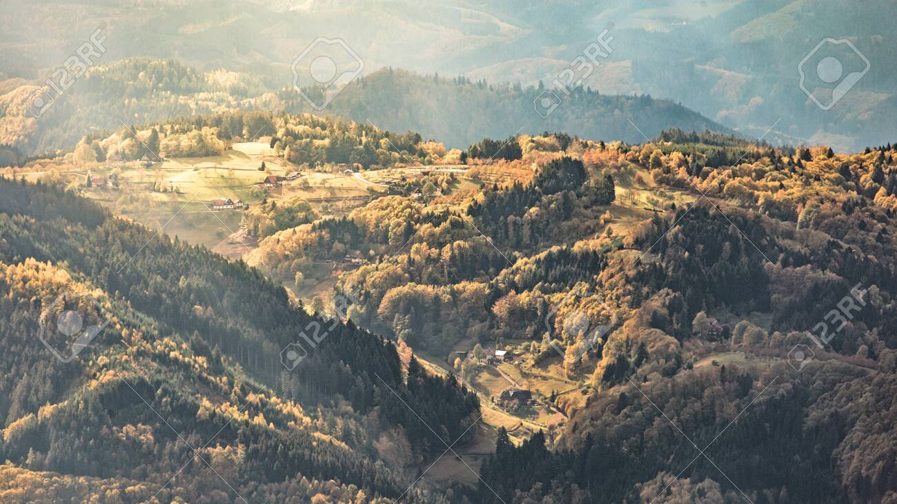 wonderful panoramic view over the black forest in southern germany - 132456310