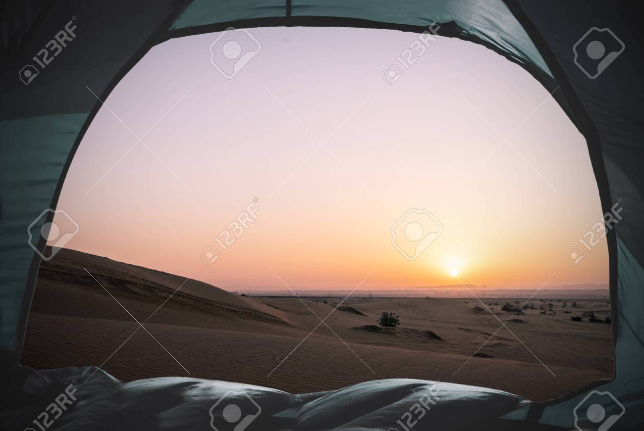 view out of a tent situated in the desert, tourism concept - 132456321