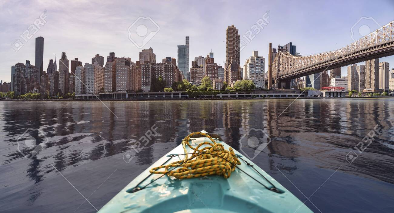New York City Skyline seen from a kayak in the east river - 132456338