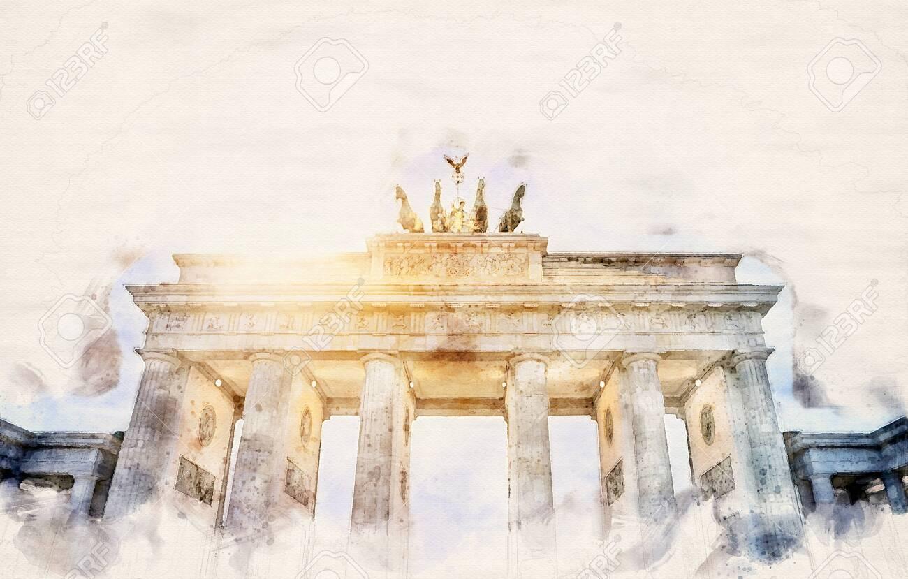 watercolor illustration of the Brandenburger Tor in Berlin, Germany - 132166114