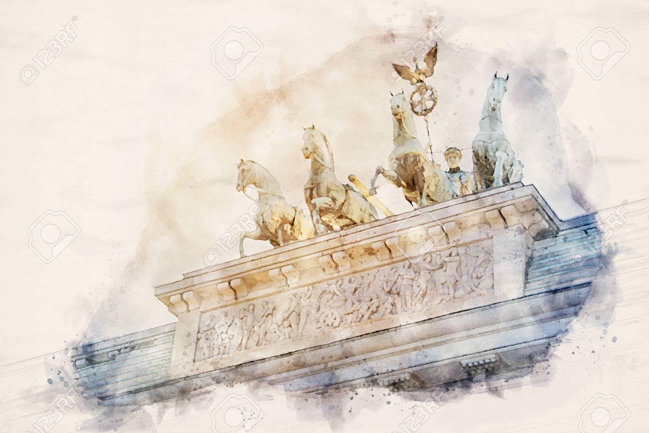 watercolor illustration of the Quadriga statue on top of the Brandenburger Tor (Brandenburg gate) in Berlin, Germany - 132166006