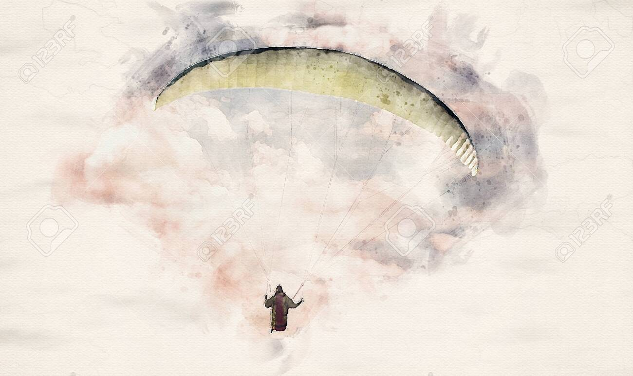watercolor illustration of a paraglider flying through a cloud formation - 132166409