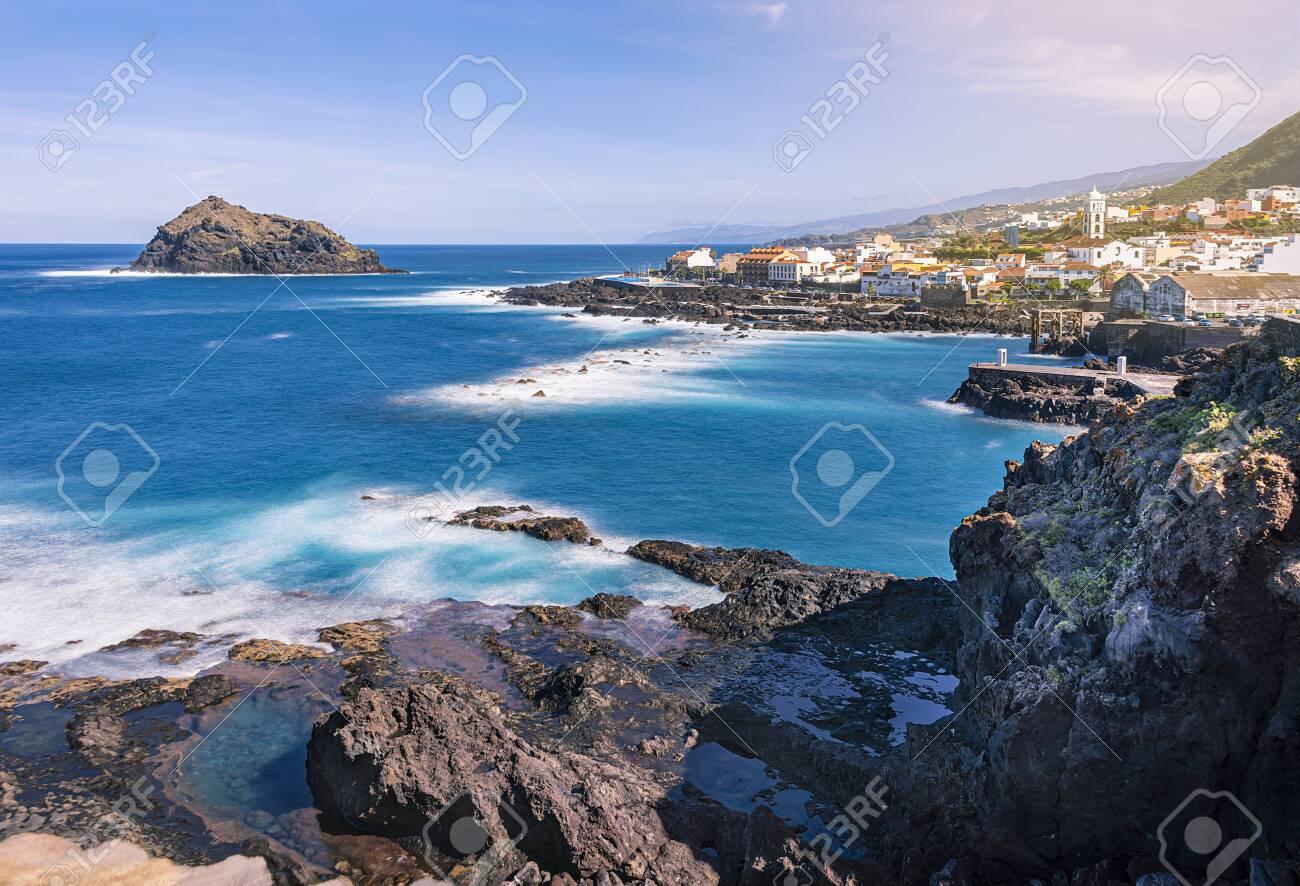 panoramic view over Garachico Village on Tenerife, Canary Islands, Spain - 137352497