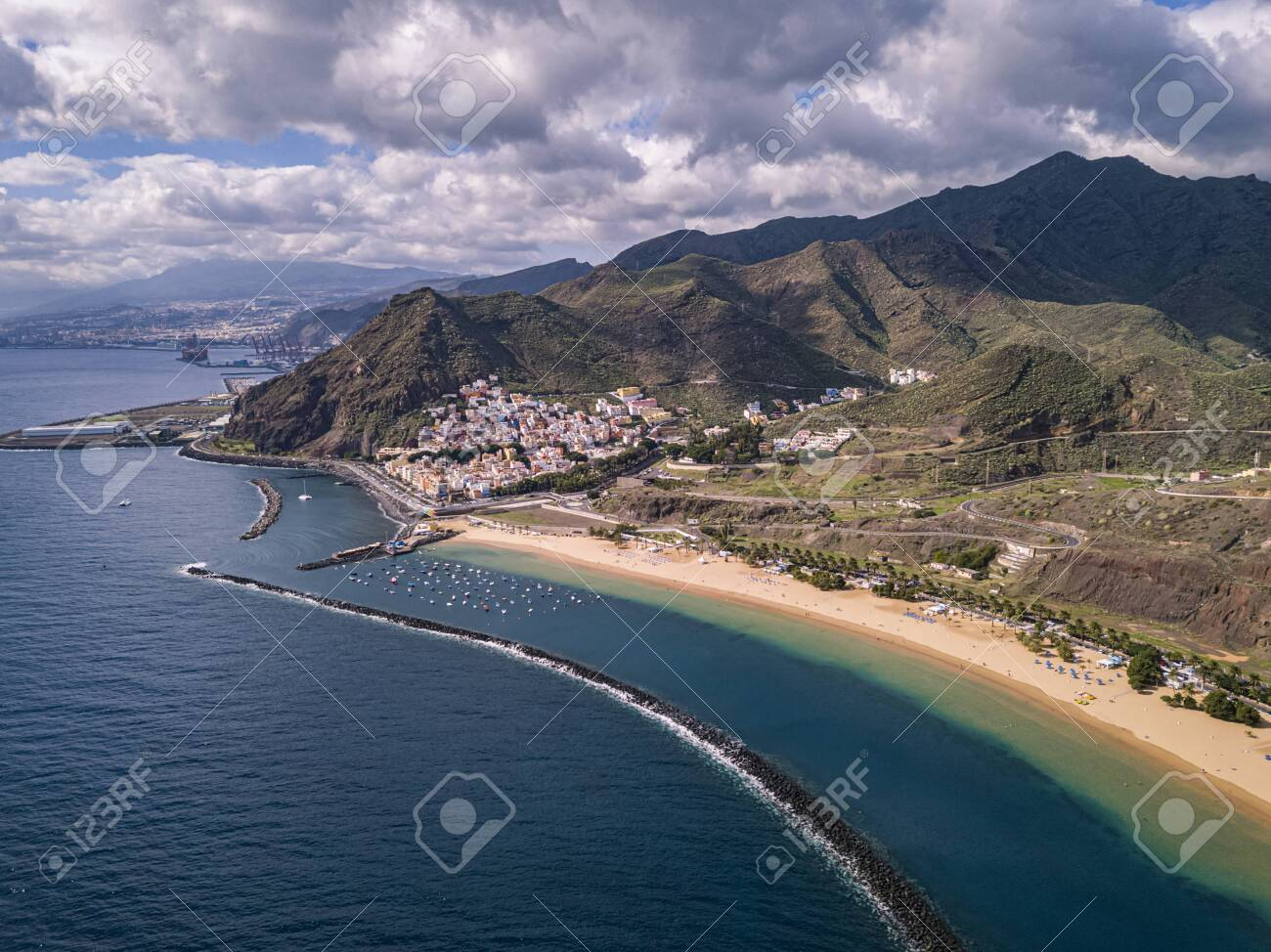Aerial view of the famous white sand beach Playa de Las Teresitas with scenic San Andres village. Tenerife, Canary Islands, Spain - 137602605