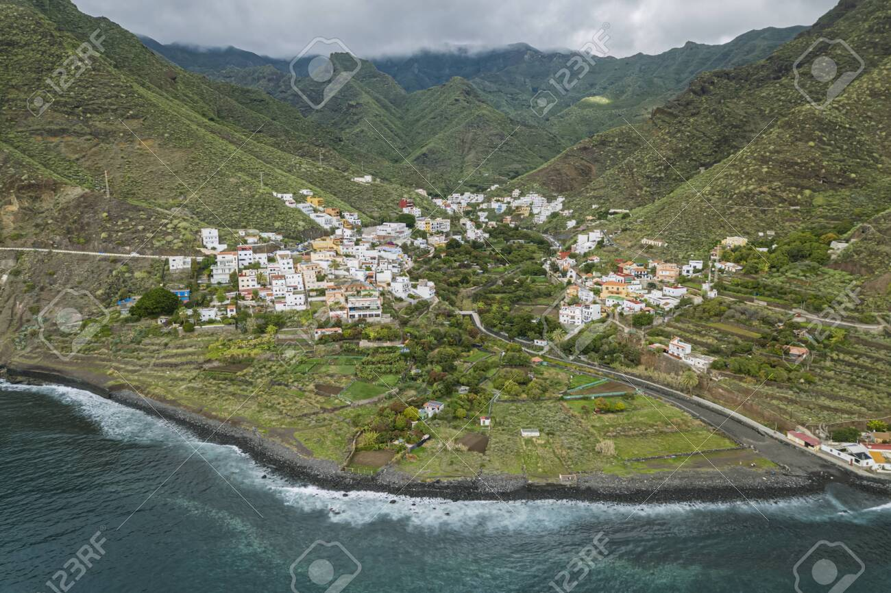 Aerial view of the small town Igueste De San Andres in the northern part of Tenerfie, Canary Islands, Spain - 137602541