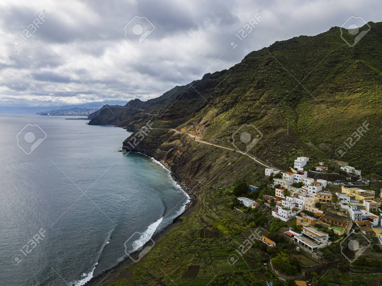 Aerial view of the small town Igueste De San Andres in the northern part of Tenerfie, Canary Islands, Spain - 137602123