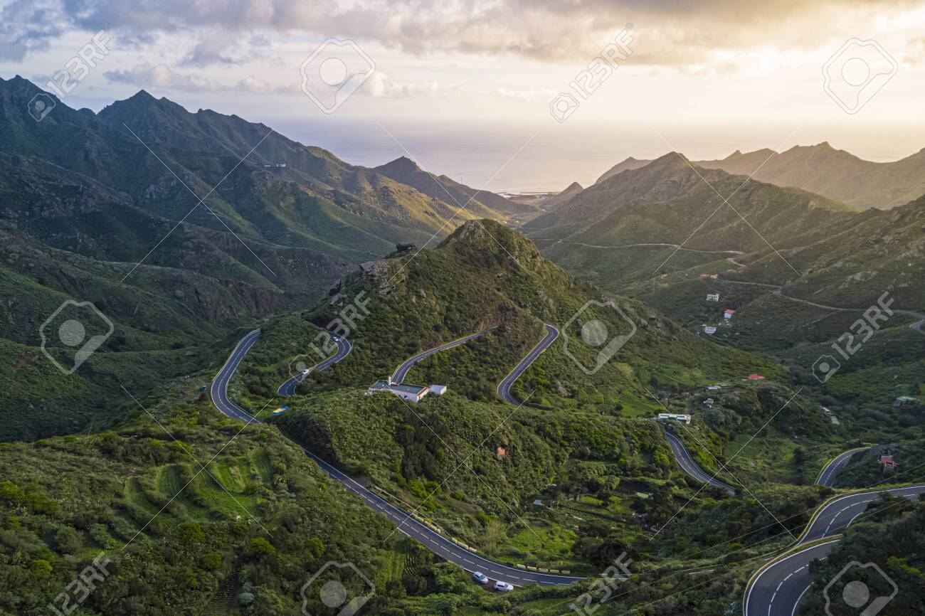 Aerial view of the Anaga Mountain Range with the atlantic ocean in the back, Tenerife, Canary Islands, Spain - 137601889