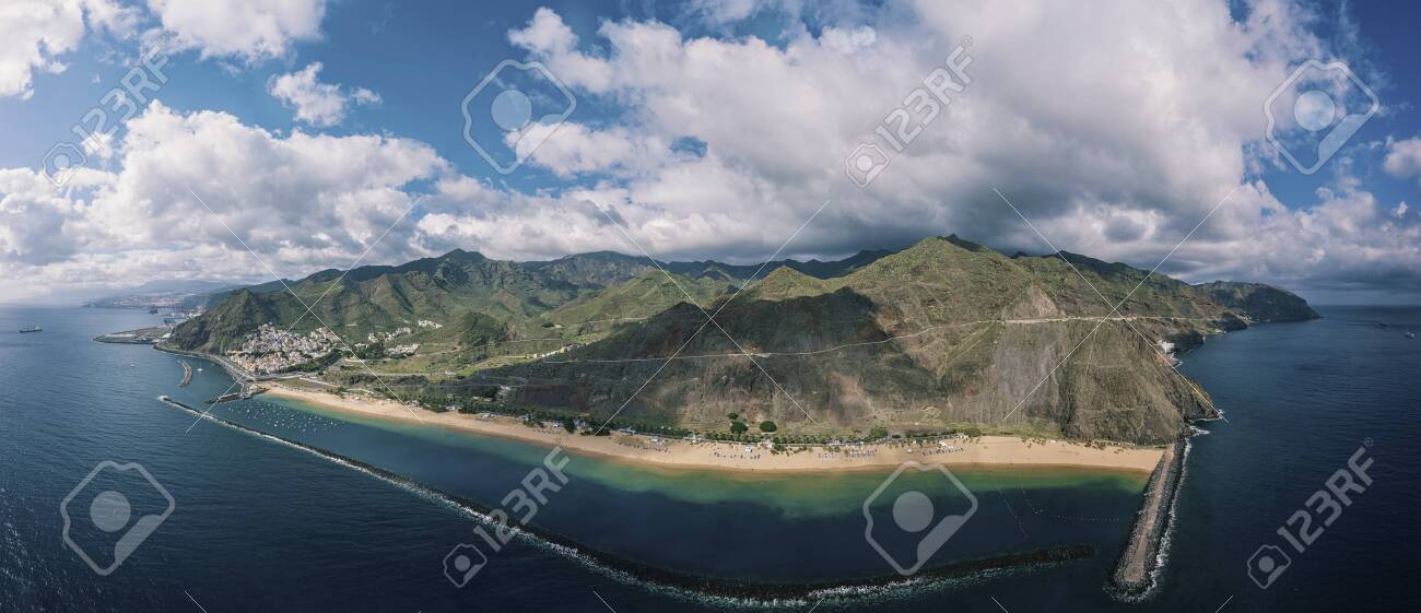 Aerial view of the famous white sand beach Playa de Las Teresitas with scenic San Andres village. Tenerife, Canary Islands, Spain - 137602236